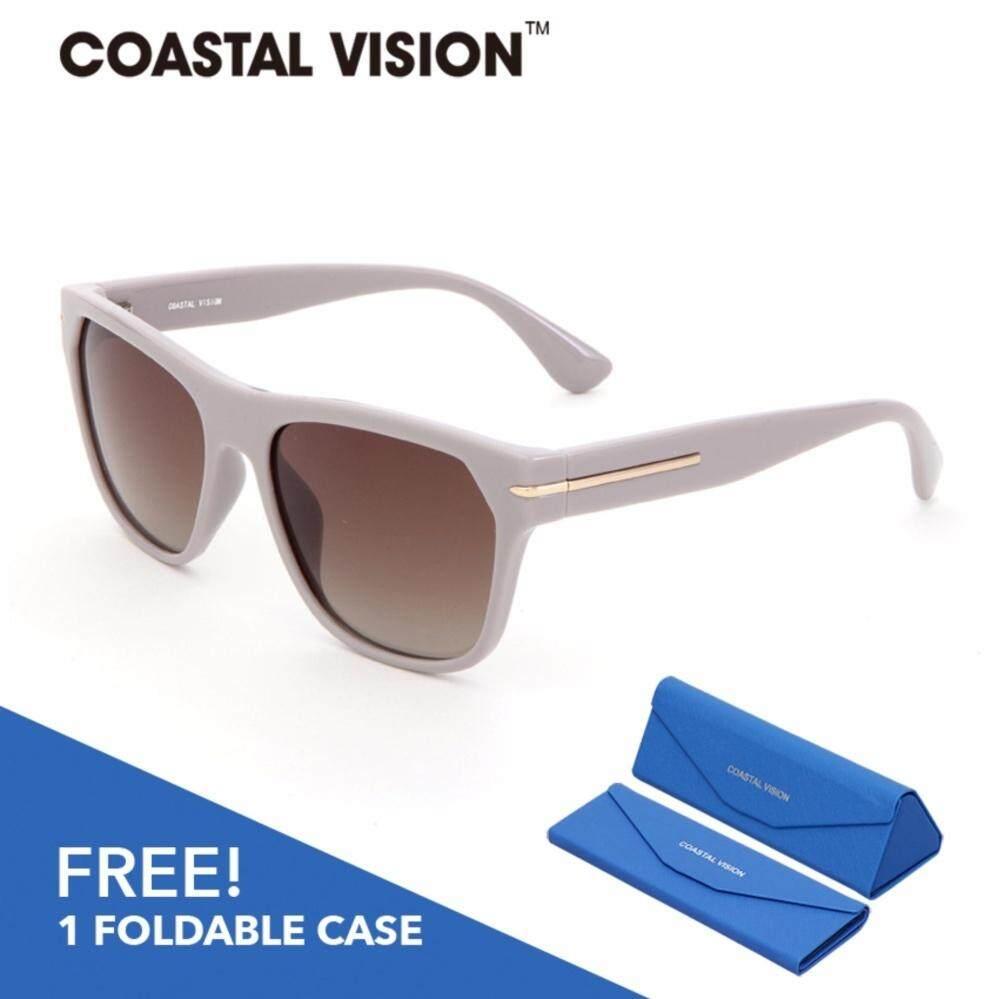 COASTAL VISION แว่นกันแดดโพลาไรซ์สำหรับผู้หญิง กรอบทรงสี่เหลี่ยมจัตุรัสสีเทา เลนส์ป้องกันรังสี UVA/B CVS5022