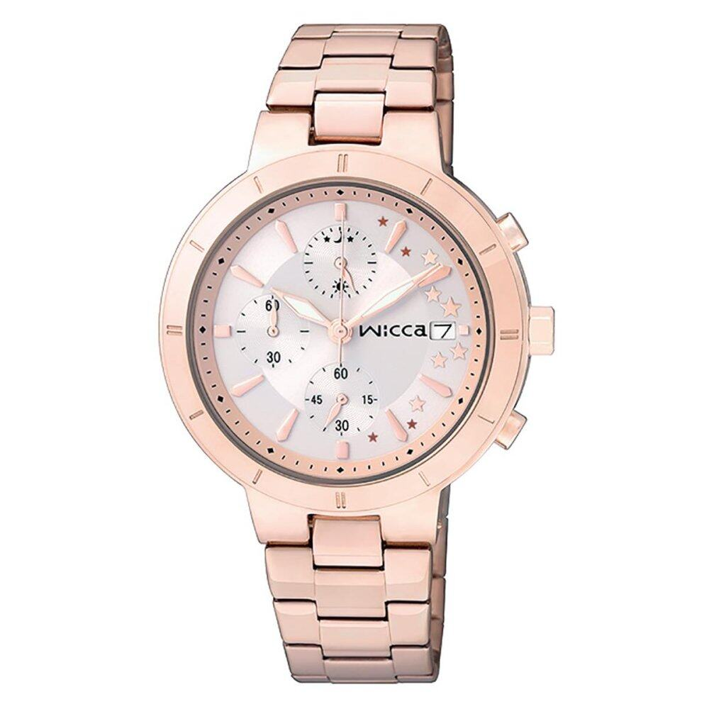 โปรโมชั่น Citizen Watch Wicca Chronograph Rose Gold Stainless Steel Case Stainless Steel Bracelet Ladies Bm2 225 11