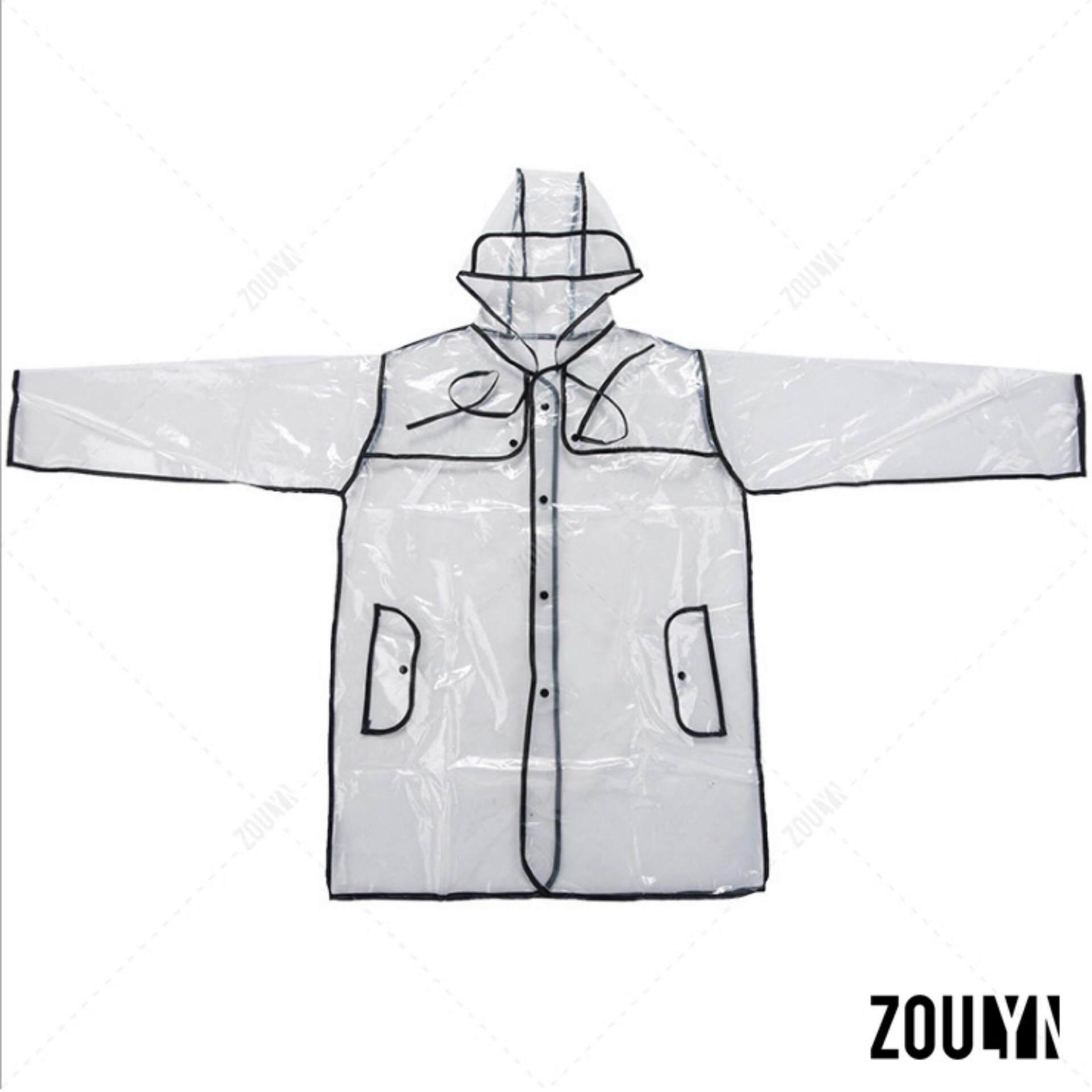ราคา Zoulyn เสื้อกันฝน แฟชั่น โปร่งใส Fashion Transparent Waterproof Rain Coat ชุดกันฝน สไตล์ญี่ปุ่น รุ่น Kdf 0006 สีดำ Black ราคาถูกที่สุด