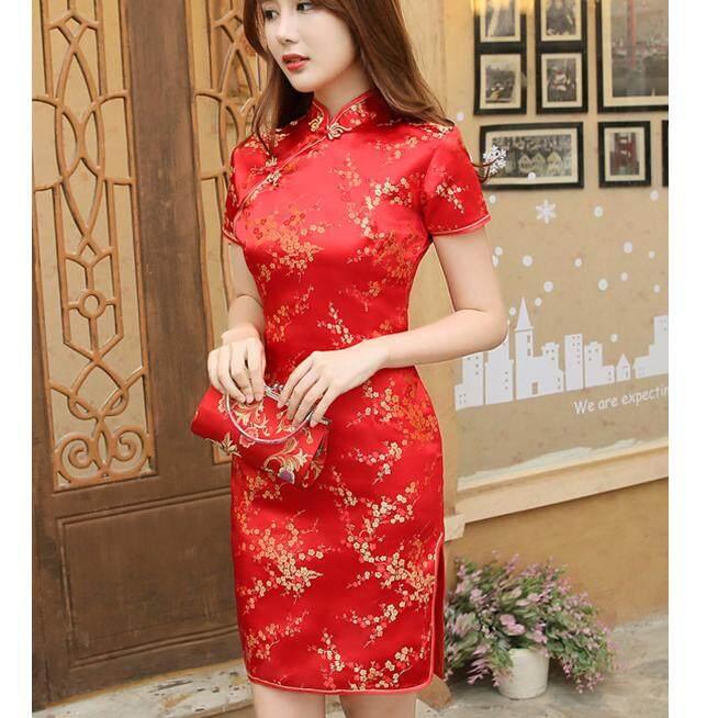 ส่วนลด สินค้า Fashion ชุดกี่เพ้าหญิง แขนสั้น ผ่าข้าง ลายดอก เข้ารูป สไตล์จีน สีแดง รุ่น 2020