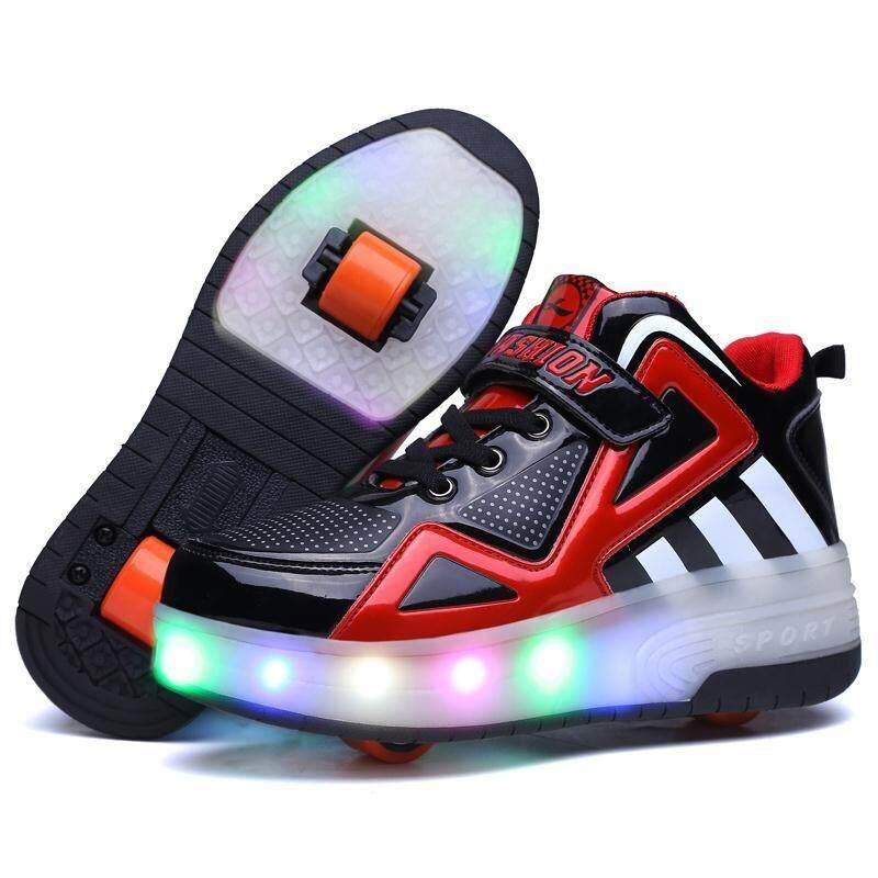รองเท้าหุ้มข้อ หนังแก้ว ติดล้อ 2ล้อหน้า-หลัง พื้นไฟ Led สีดำ-แดง.