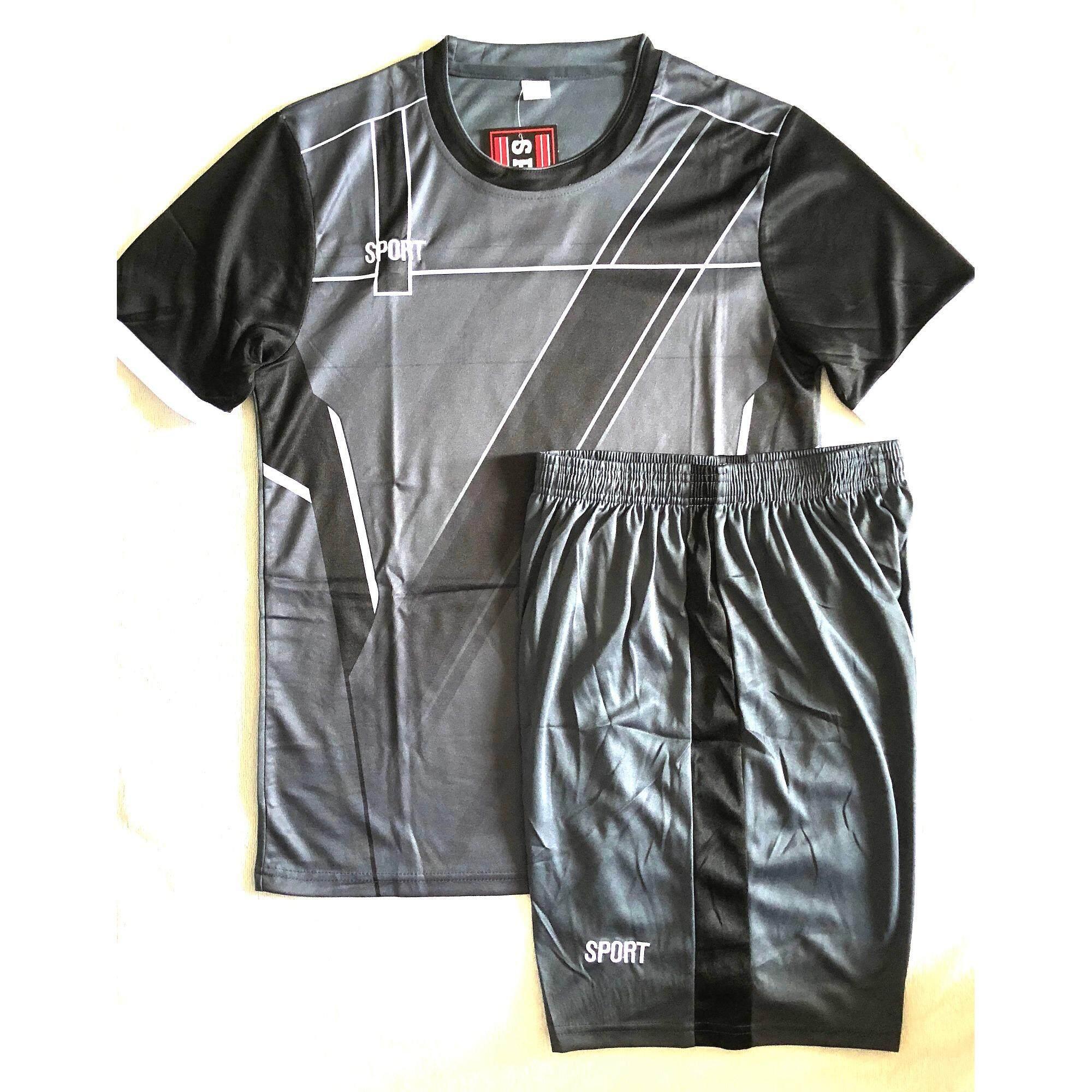 ราคา Sports ชุดฟุตบอลสำหรับผู้ใหญ่ เสื้อ กางเกง สีเทาแต่งดำ Model7 ราคาถูกที่สุด