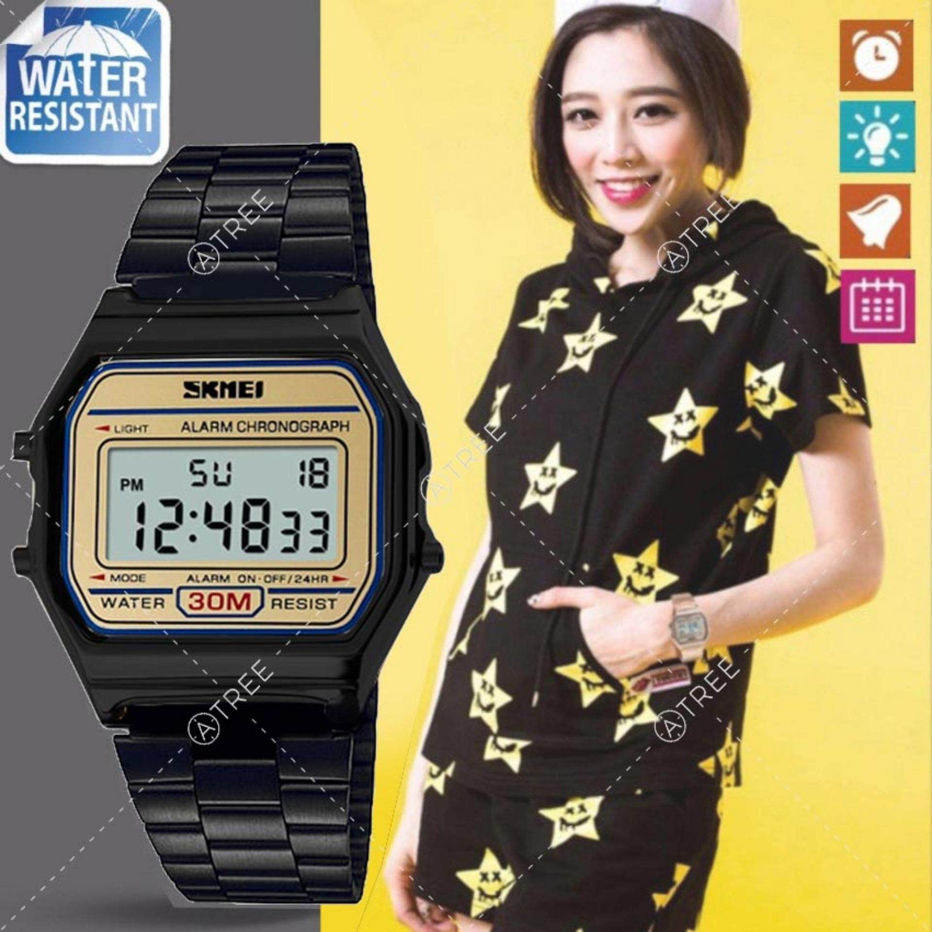 SKMEI ของแท้ 100% ส่งในไทยไวแน่นอน นาฬิกาข้อมือผู้หญิง สไตล์ Casual Bussiness Watch จับเวลา ตั้งปลุกได้ ไฟ LED ส่องสว่าง สายแสตนเลสสีดำ รุ่น SK-M1123 สีดำ (Black)