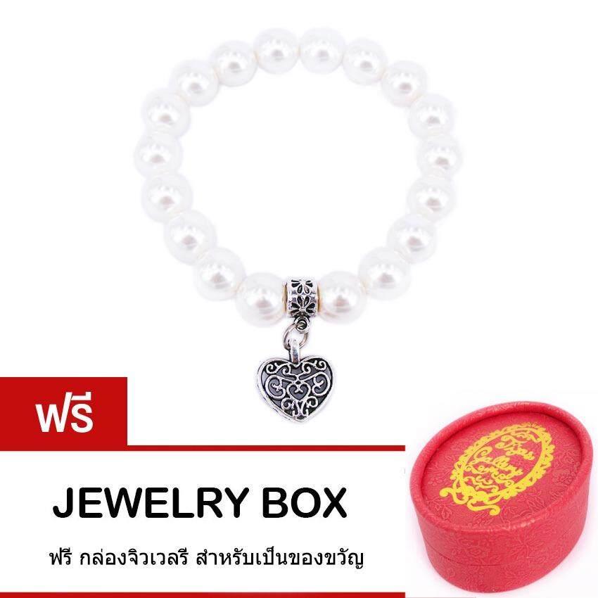 ส่วนลด Tips Gallery สร้อย ข้อมือ มุก ขาวเปลือกหอยแท้ธรรมชาติ 10 Mm Fresh Water Pearl รุ่น Le Pearl Valentine Floral Love Design Bracelet Tbs064