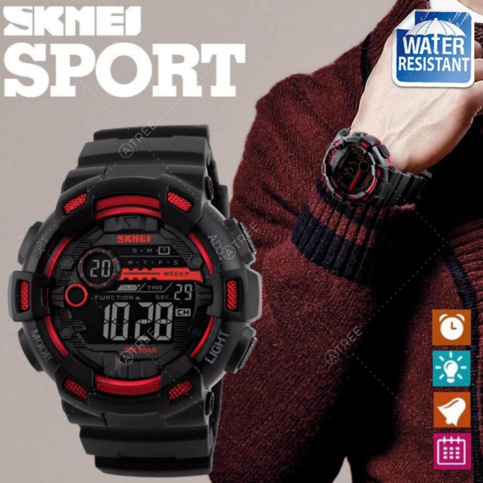 ขาย Skmei ของแท้ 100 ส่งในไทยไวแน่นอน นาฬิกาข้อมือผู้ชาย สไตล์ Sport Digital Watch ระบบ Digital บอกวันที่ ตั้งปลุก จับเวลา ไฟ Led กันน้ำ สายเรซิ่นสีดำ รุ่น Sk M1243 สีแดง Red เป็นต้นฉบับ