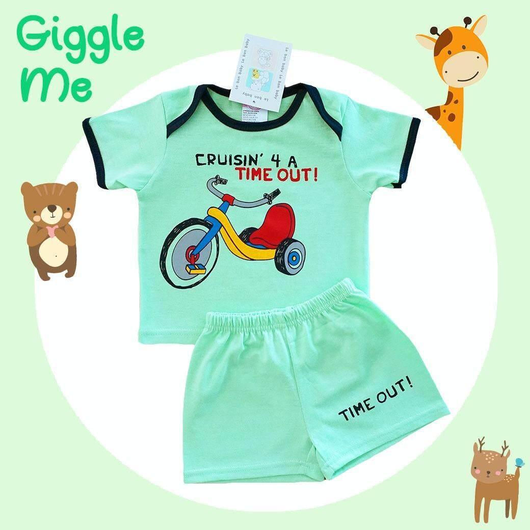Le bon baby ไซส์ 3-9 เดือน เซ็ต 2 ชิ้น ชุดเด็กชาย เสื้อแขนสั้น ลายรถสามล้อคู่ใจ สีเขียว สีฟ้า กางเกงขาสั้นเอวยางยืดผ้า Cotton 100% นุ่มใส่สบาย