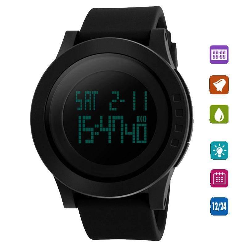 ซื้อ Men Military Sports Watches Skmei 1142 Watch Fashion Silicone Waterproof Led Light Digital Clock Black Intl ใหม่ล่าสุด