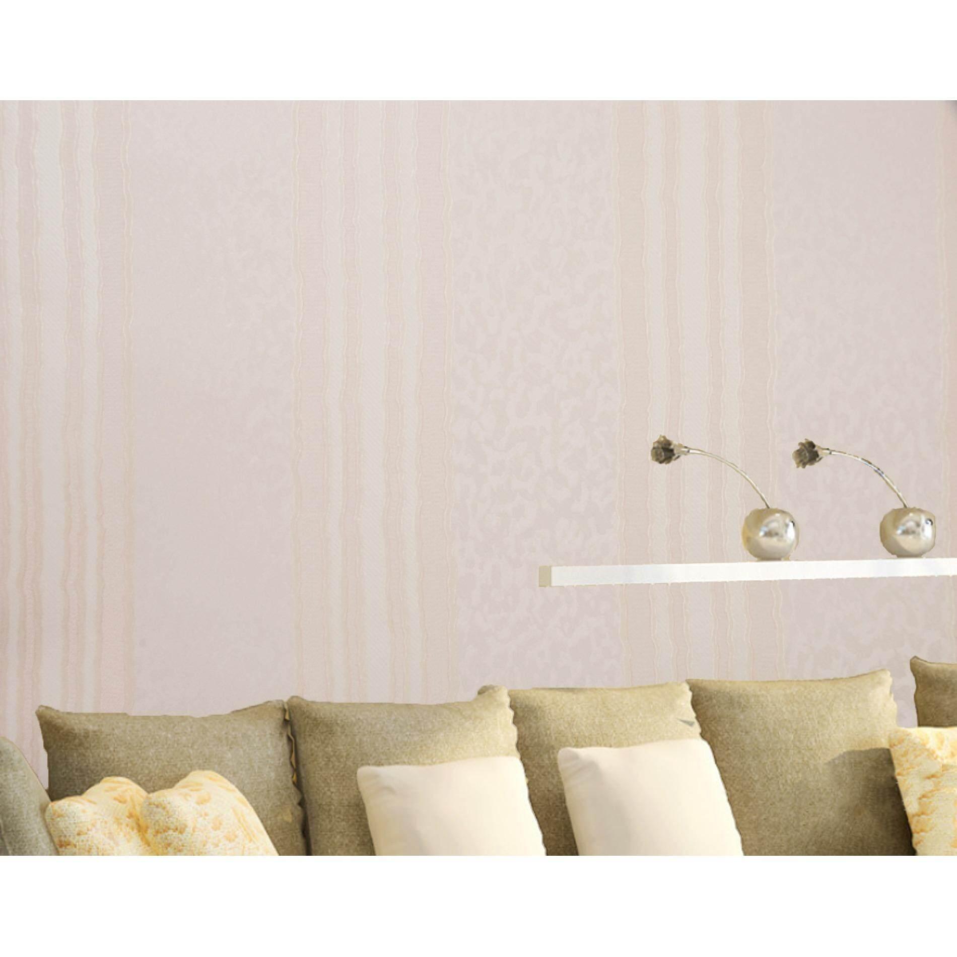 ซื้อ Homily Wallpaper รุ่น Cl 970502 โทนสีขาวมุก ลายตรงเหลืองชมพูอ่อน