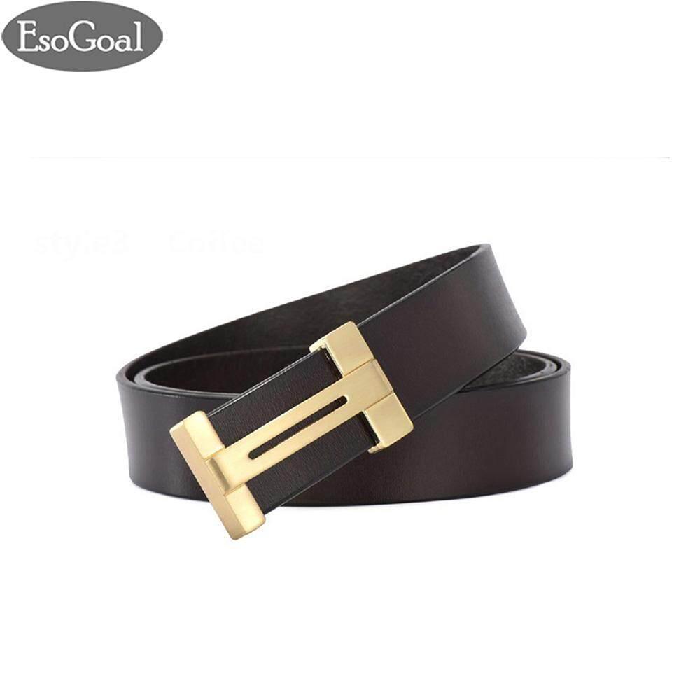 ราคา Esogoal สำหรับผู้ชายแบบ Esogoal H เข็มขัดหนังพร้อมหัวเข็มขัดแบบถอดได้ Business Casual Leather Belt 120 เซนติเมตร Esogoal จีน