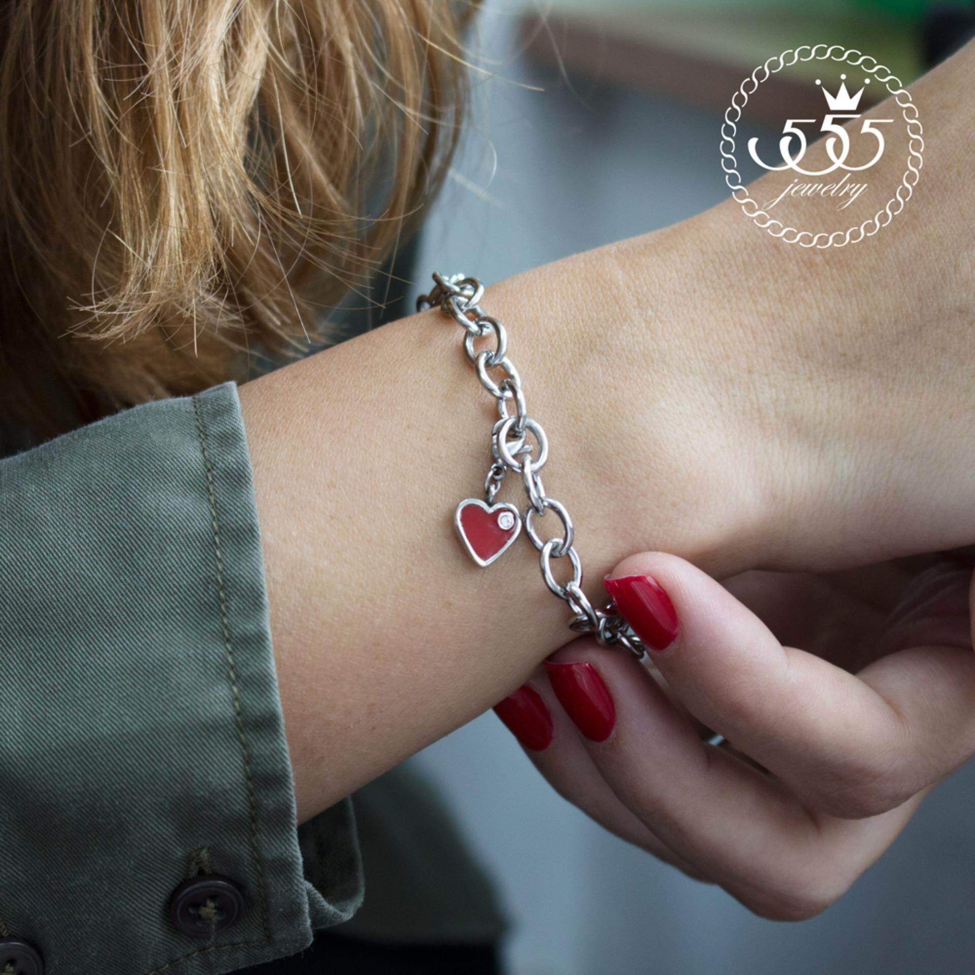 ขาย ซื้อ ออนไลน์ 555Jewelry สร้อยข้อมือ พร้อม Charm รูปหัวใจสีแดงประดับด้วย Cz สีขาว รุ่น Ssch 077 สี Steel สร้อยข้อมือ สร้อยข้อมือผู้หญิง สร้อยข้อมือคู่ สร้อยข้อมือทอง กำไลข้อมือหญิง ข้อมือสแตนเลส
