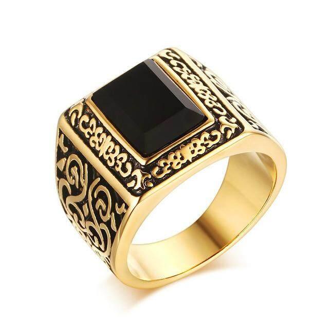 โปรโมชั่น Retro Style Big Agate Rings For Men 316L Stainless Steel 18K Gold Plated Pattern Men S Ring Accessories Intl ถูก