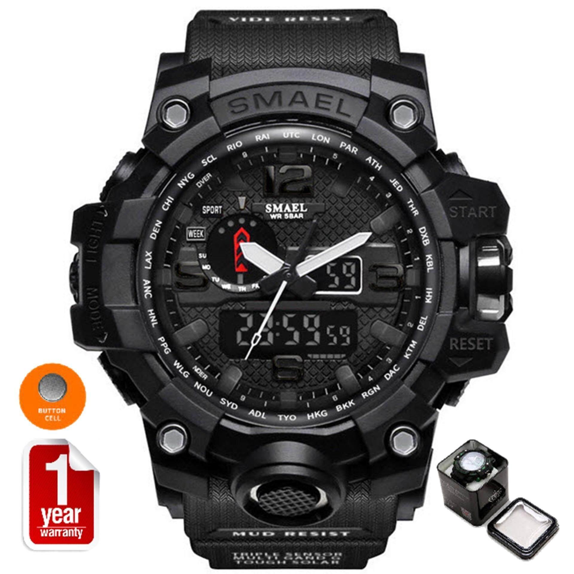 Smael นาฬิกาข้อมือผู้ชาย Sport Digital Led รุ่น Sm1545 Black เป็นต้นฉบับ