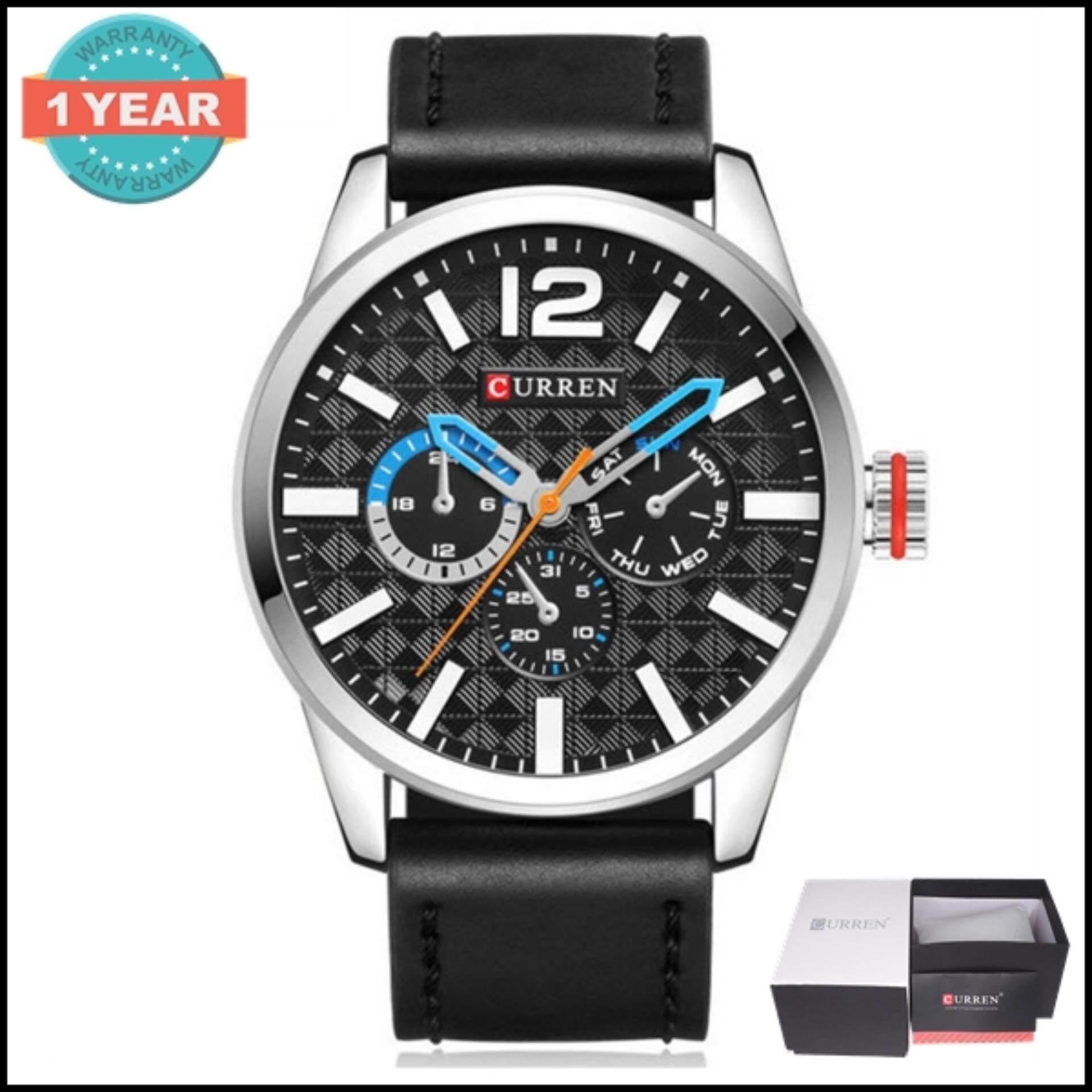ซื้อ Curren นาฬิกาข้อมือผู้ชาย สายหนังสีน้ำตาล หน้าปัดสีดำ เงิน รุ่น C8247 ถูก