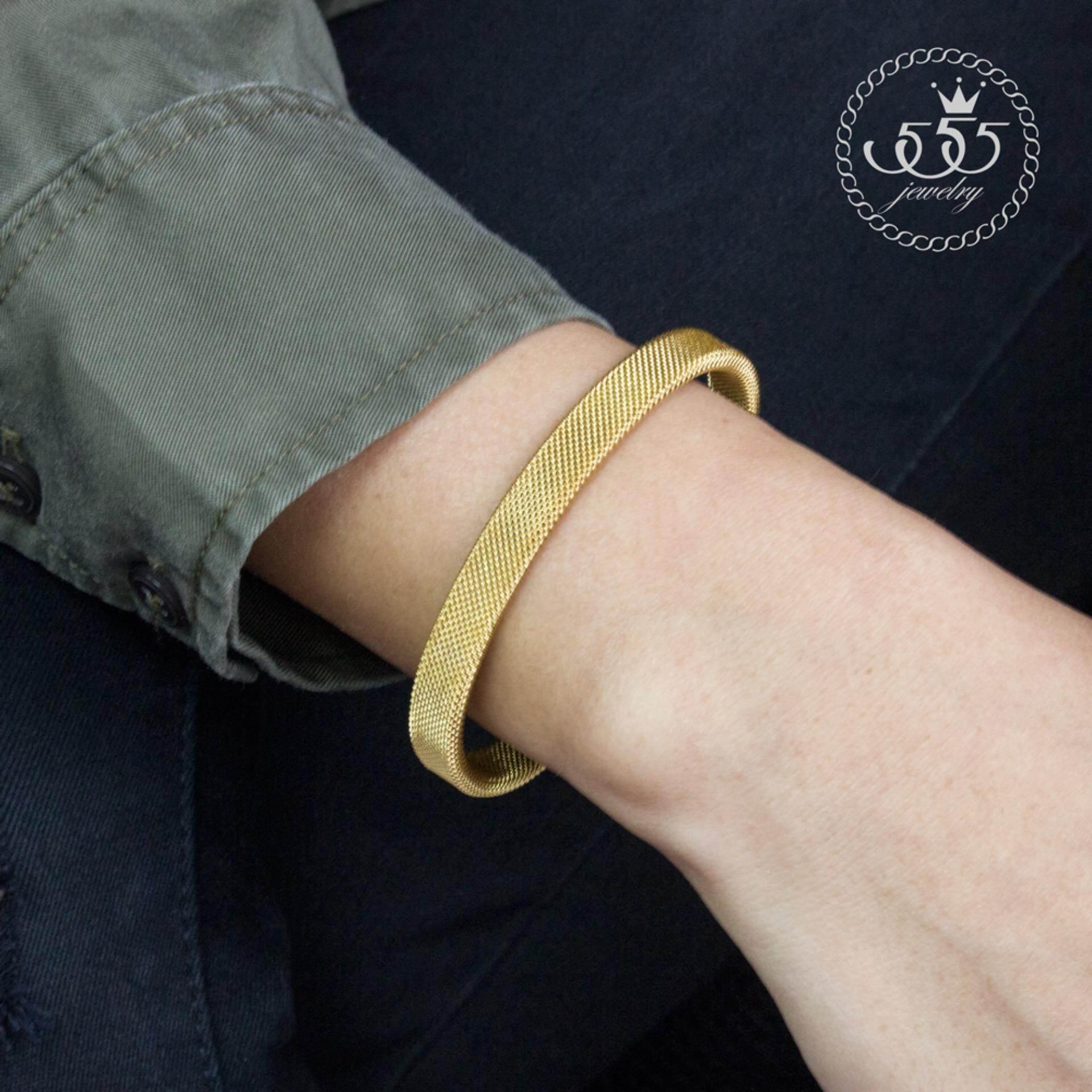 ส่วนลด 555Jewelry 316L Bangle กำไลข้อมือ รุ่น Mnc Bg077 B Yellow Gold กำไลข้อมือ กำไลข้อมือหญิง กำไลข้อมือคู่ กำไลข้อมือทอง