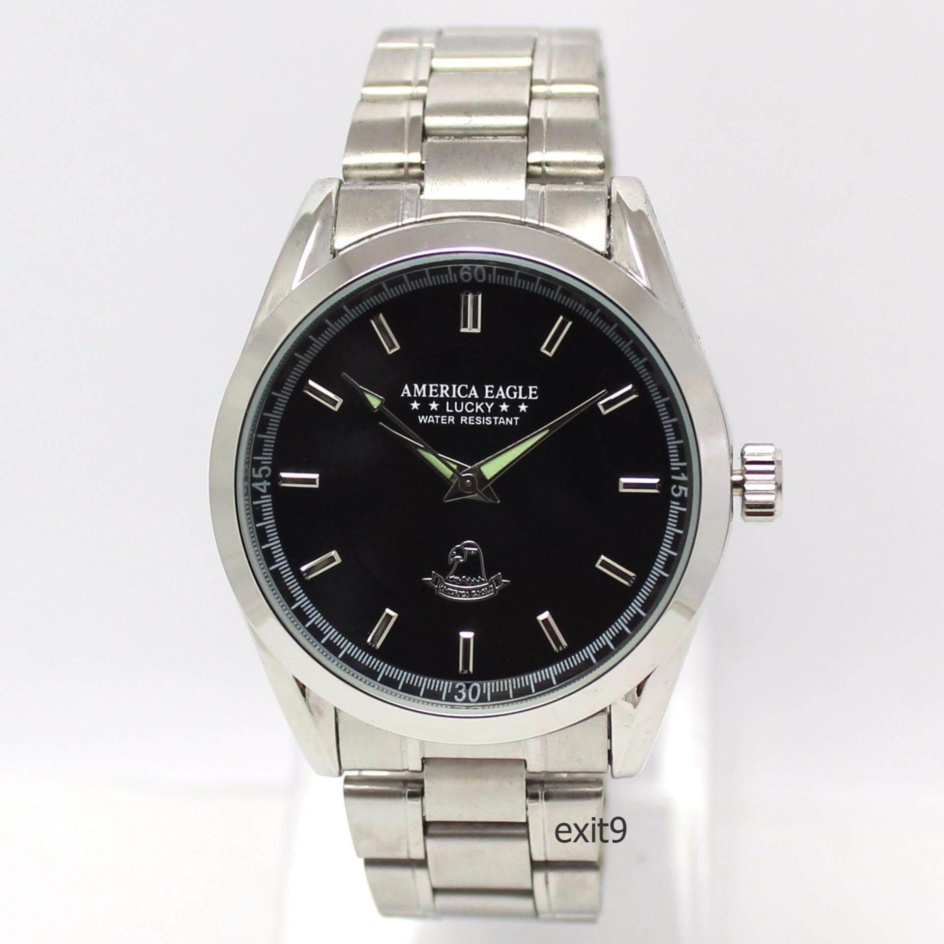 ขาย ซื้อ America Eagle นาฬิกาข้อมือบุรุษหน้าปัดสีดำ สายสแตนเลส ไทย