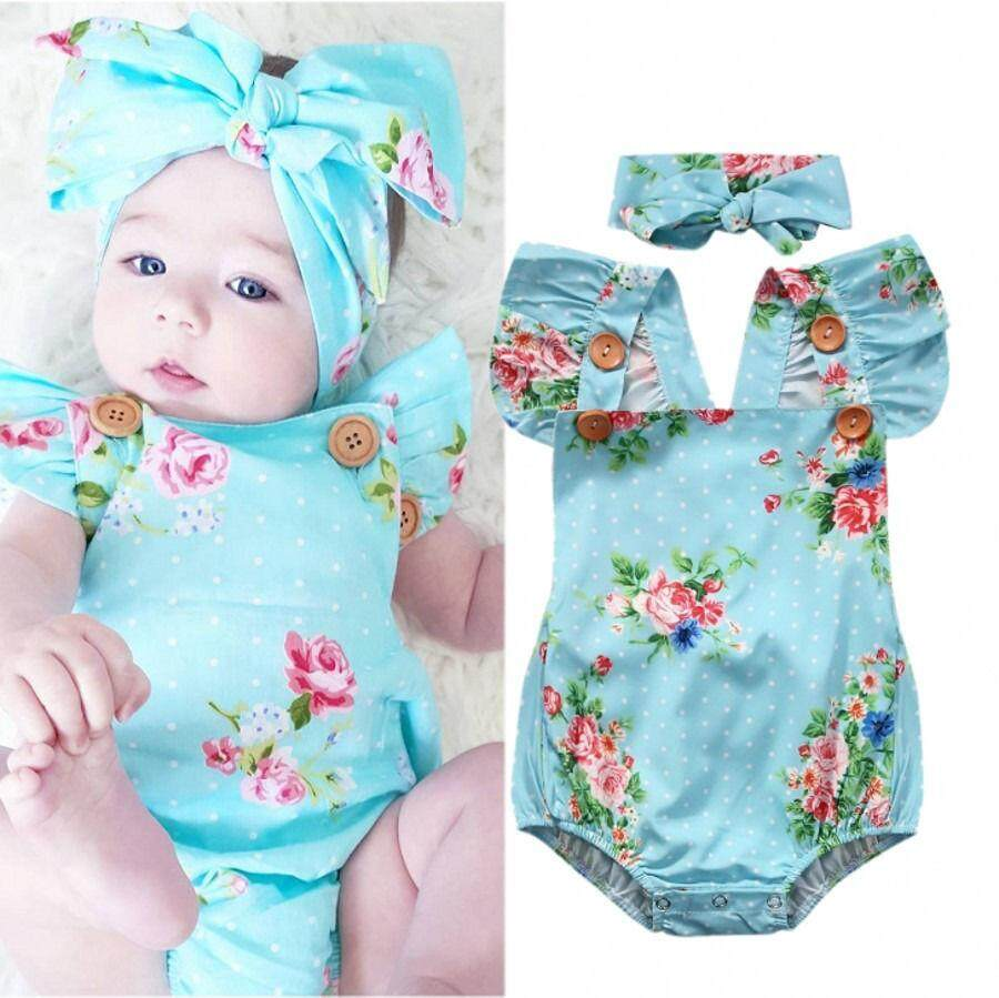 ราคา Adorable Baby Girls Floral One Pieces Romper Backless Sunsuit Clothes Headband 24Month Intl ราคาถูกที่สุด