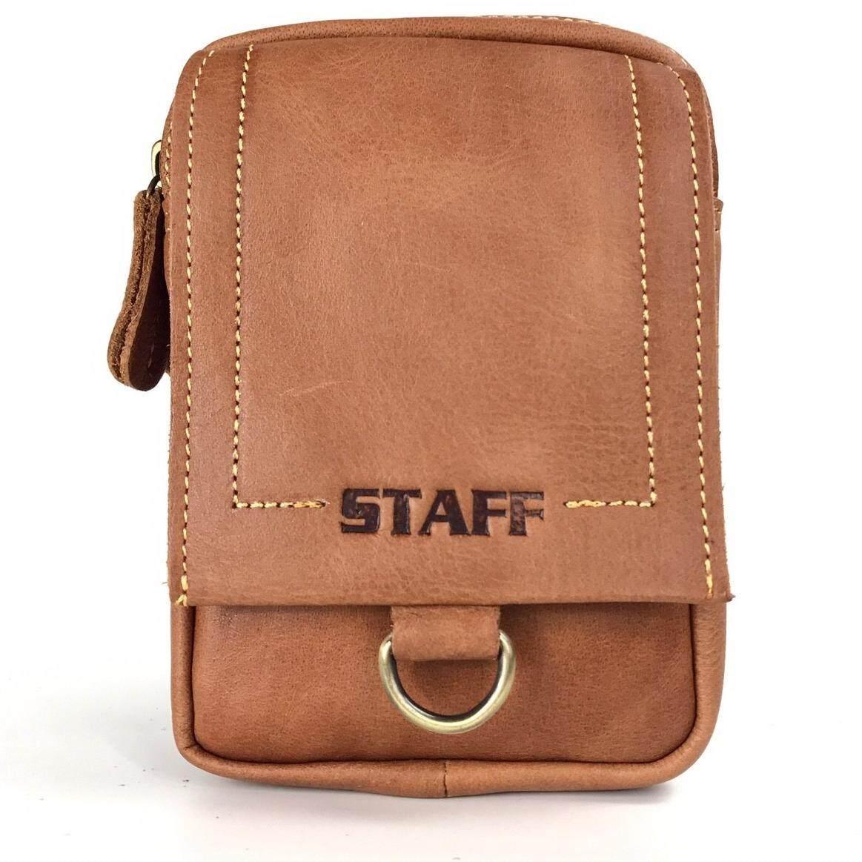 ขาย ซื้อ Chinatown Leather กระเป๋าหนังแท้ใส่มือถือร้อยเข็มขัด ซิปคู่ฝาหน้า สีน้ำตาล กรุงเทพมหานคร