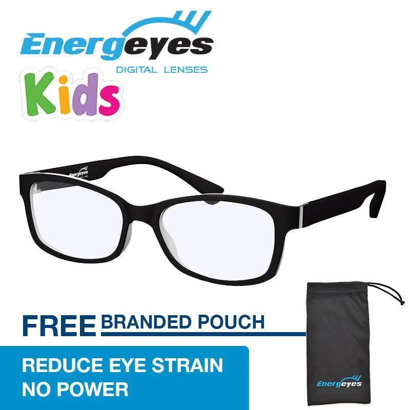 โปรโมชั่น Energeyes Kids แว่นกรองแสงถนอมสายตาและลดแสงสีน้ำเงินลง 50 กรอบทรงสี่เหลี่ยมสำหรับเด็ก ด้านหน้าสีดำด้าน ด้านหลังสีขาว ฮ่องกง