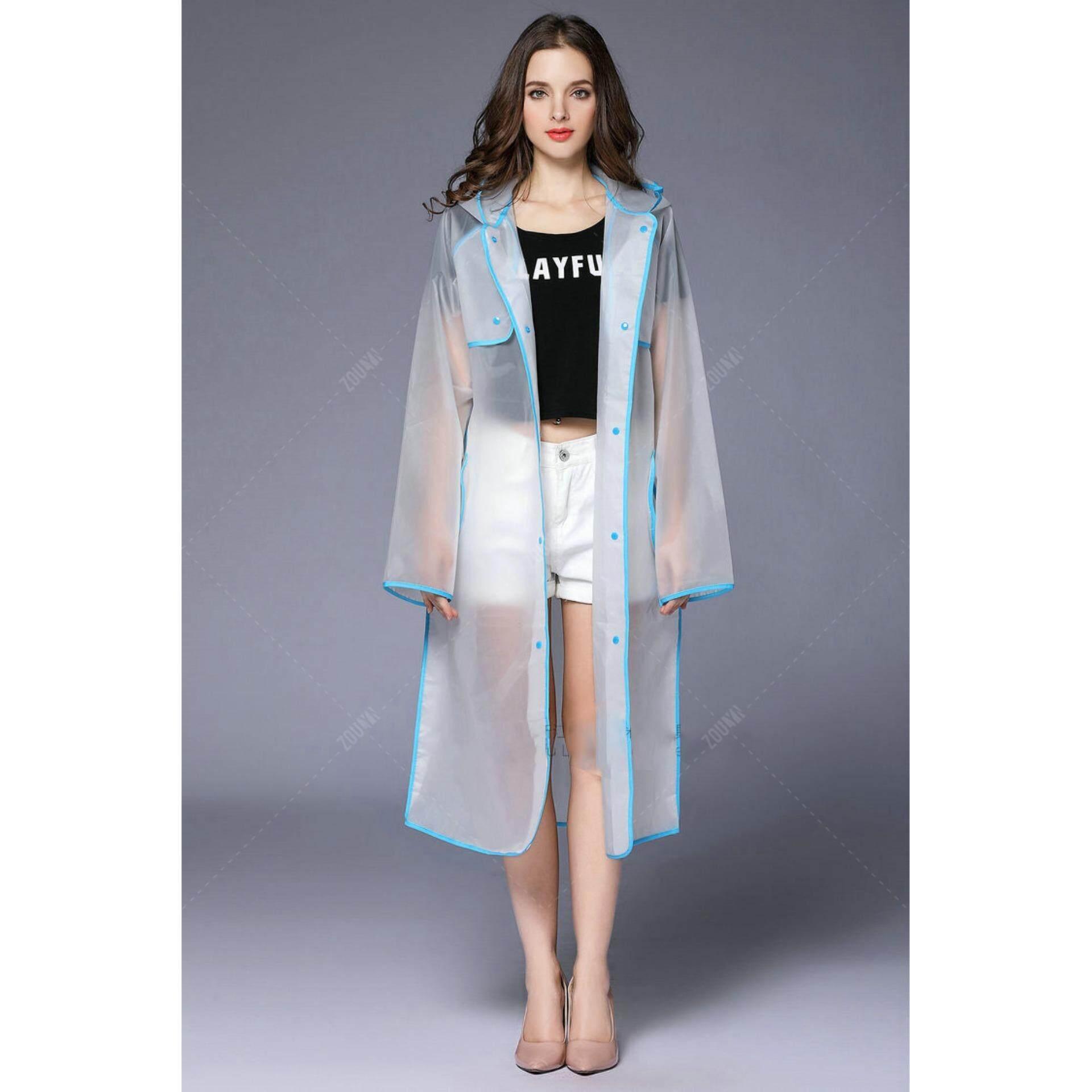 ส่วนลด Zoulyn เสื้อกันฝน แฟชั่น ตัวยาว ขาวขุ่น Fashion Waterproof Rain Coat ชุดกันฝน สไตล์ญี่ปุ่น รุ่น Kdf 0010 สีฟ้า Blue