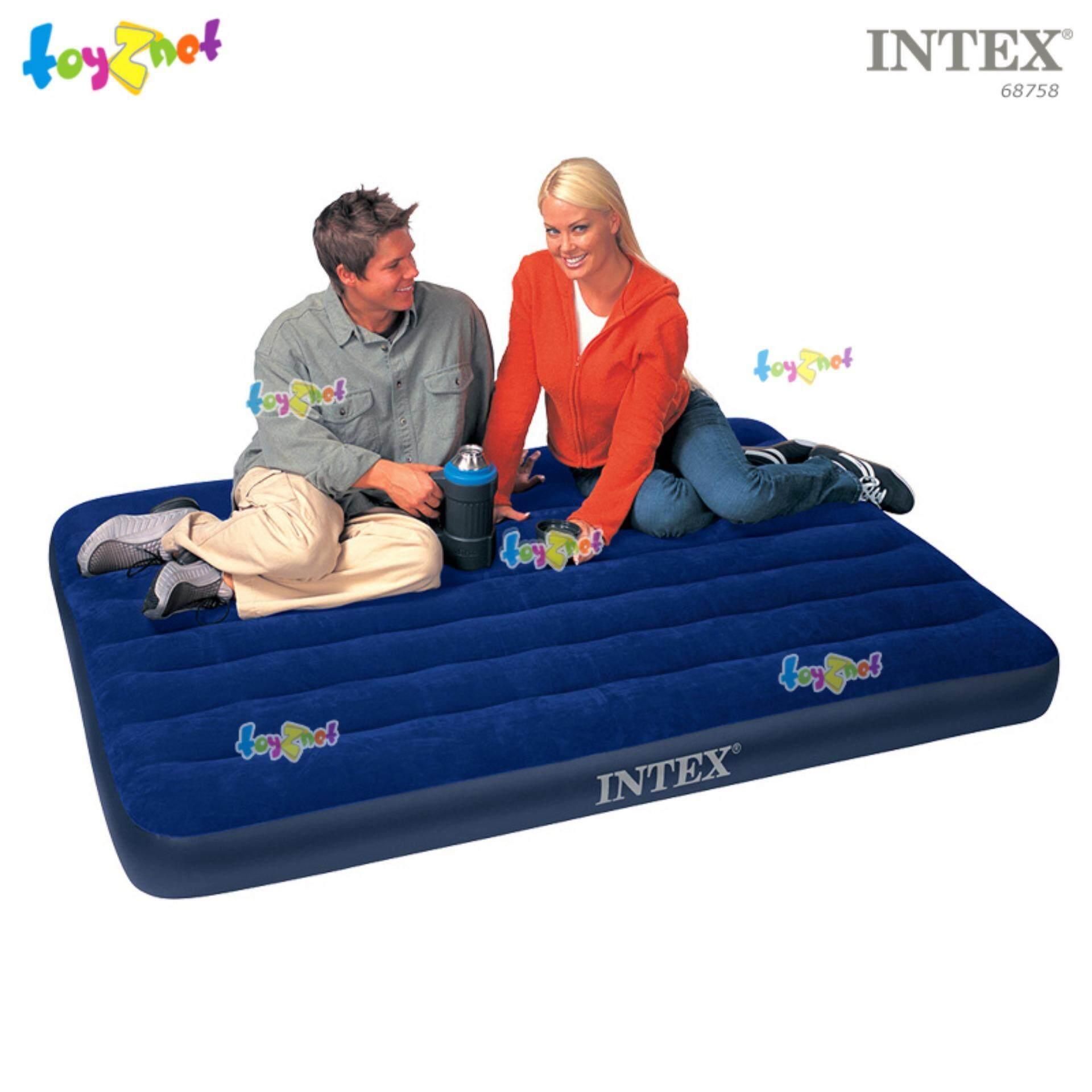Intex ที่นอนเป่าลม แค้มป์ แคมป์ปิ้ง ปิคนิค 4.5 ฟุต (ฟูล) 137x191x22 ซม. สีน้ำเงิน รุ่น 68758
