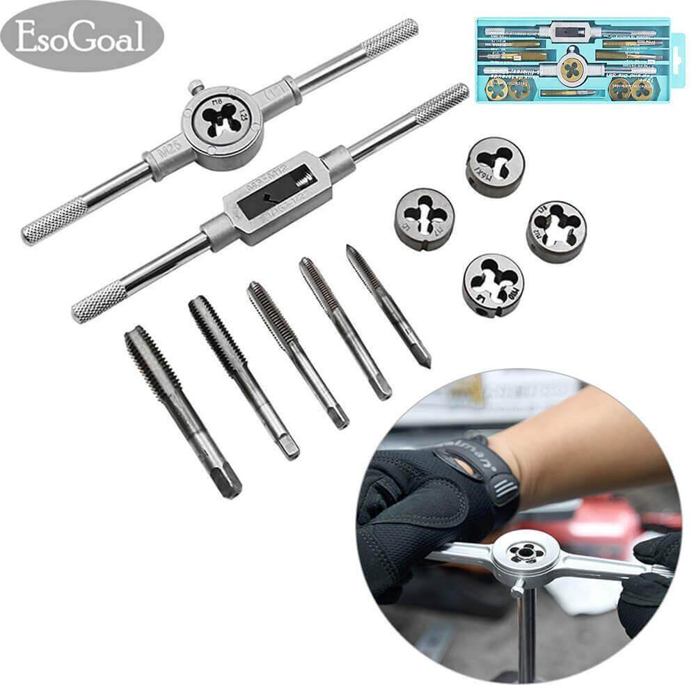 Esogoal 12Pcs Tap And Die Set Combination Alloy Steel Hand Tools Metric Size For Wood Plastic Soft Metal Steel เป็นต้นฉบับ