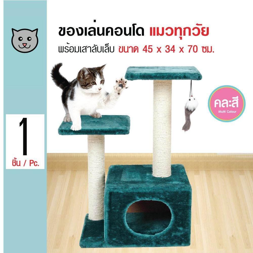 ซื้อ Cat Toy ของเล่นแมว 2 เสา คอนโดแมวพร้อมช่องเล่นมุด ที่นอนแมว สำหรับแมวทุกวัย ขนาด 45X34X70 ซม Kanimal ถูก