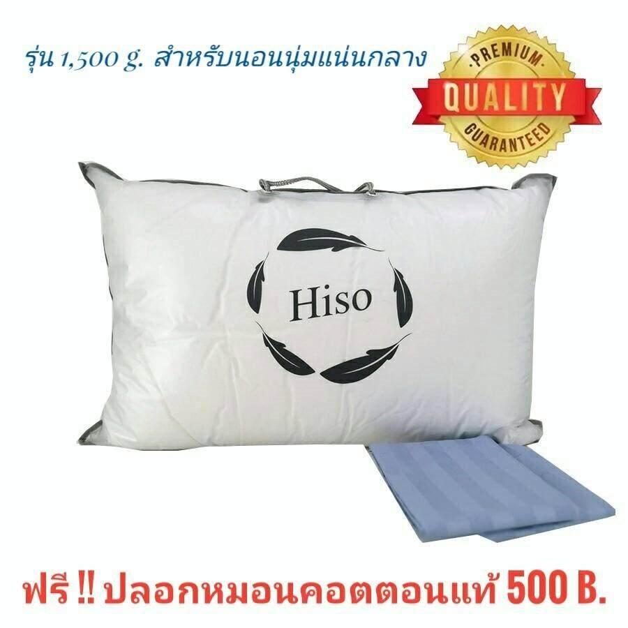 ฟรีปลอกหมอน หมอนไฮโซขนห่านเทียมกันไรฝุ่น 1500 g. Hiso Pillow รุ่นนอนนุ่มแน่นกลาง ระบายอากาศไม่อับชื้น