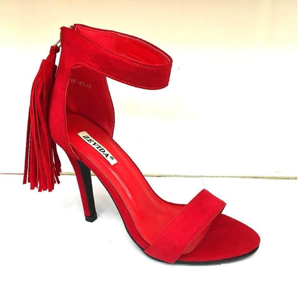 รองเท้าส้นสูง รองเท้าแฟชั่น รองเท้าออกงาน สีแดงสุง4นิ้ว ใหม่ล่าสุด