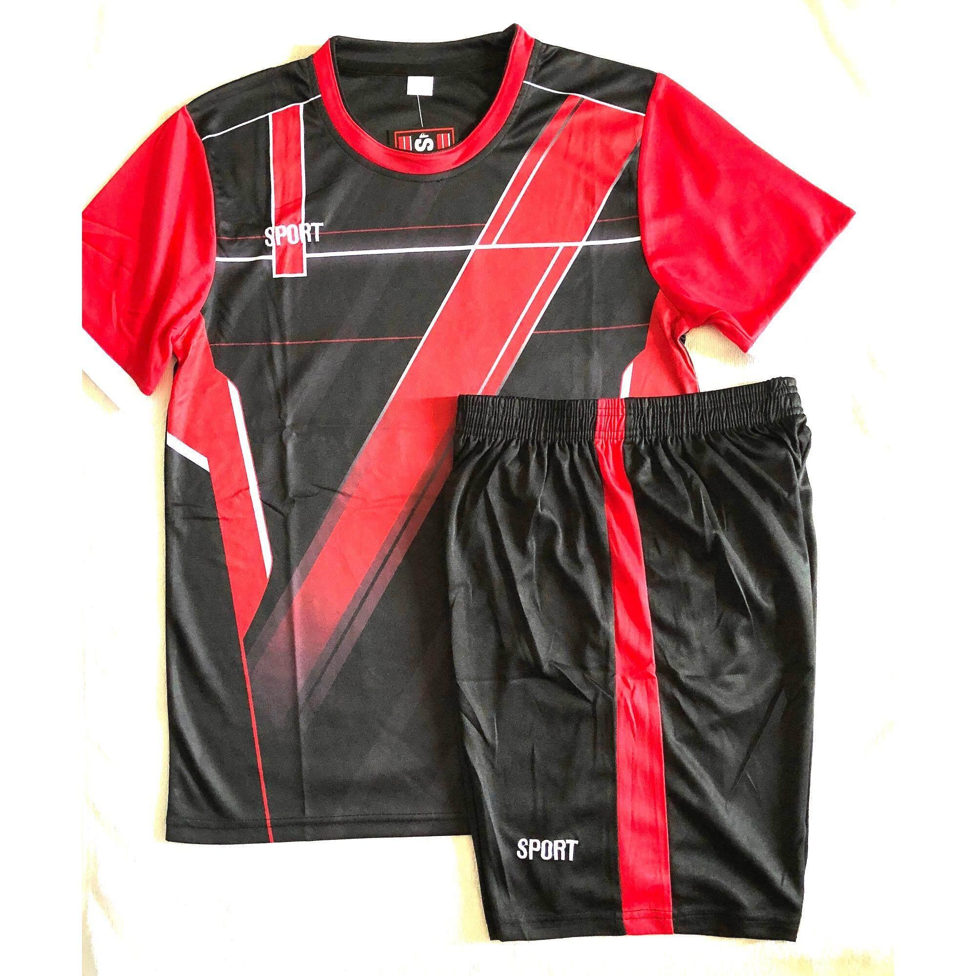 ส่วนลด Sports ชุดฟุตบอลสำหรับผู้ใหญ่ เสื้อ กางเกง สีดำแต่งแดง Model7