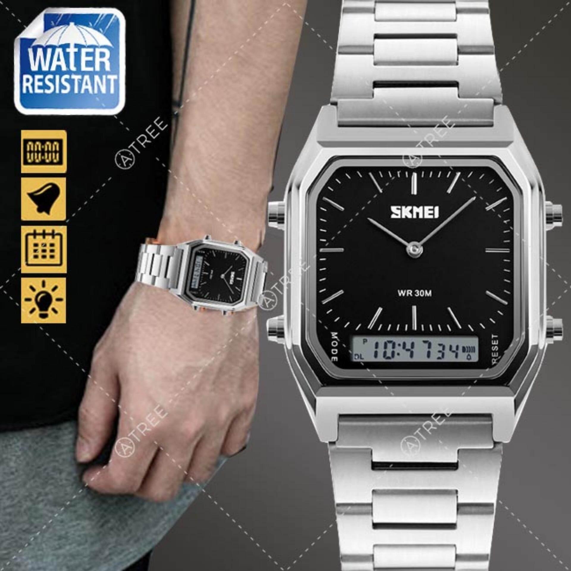 โปรโมชั่น Skmei ของแท้ 100 ส่งในไทยไวแน่นอน นาฬิกาข้อมือผู้ชาย สไตล์ Casual Bussiness Watch ใช้งานได้ 2 ระบบ ทั้ง Analog และ Digital จับเวลา ตั้งปลุก กันน้ำ สายแสตนเลสสีเงิน รุ่น Sk M1220 สีดำ Black กรุงเทพมหานคร