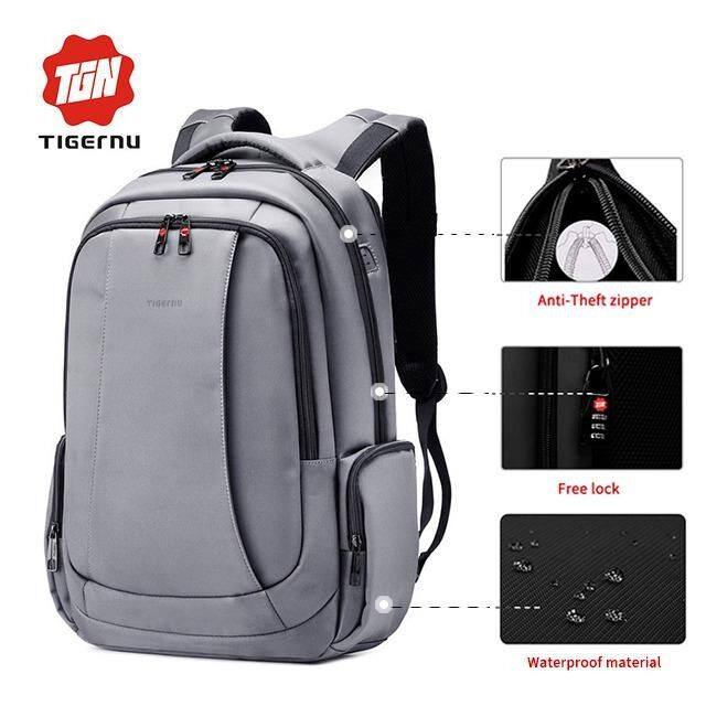 ราคา Tigernu Anti Theft Bag For 12 15 6 Inches Laptop Nylon Waterproof Travel Business Backpackt B3143 Black ราคาถูกที่สุด