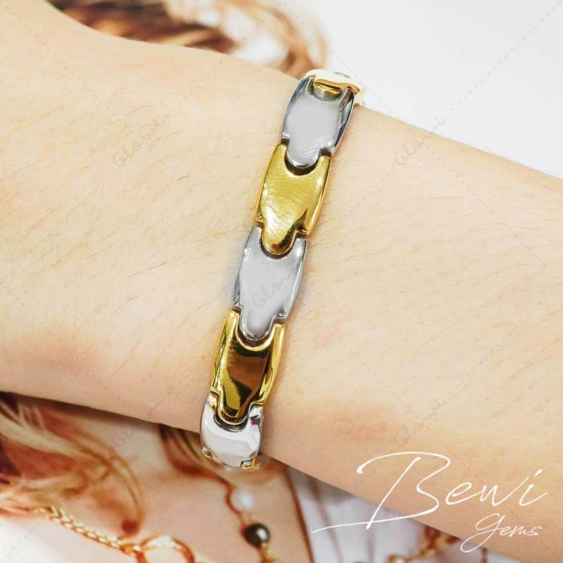 ราคา Bewi G สร้อยข้อมือผู้หญิง สไตล์ สร้อยข้อมือเพื่อสุขภาพ Bracelet แสตนเลสแท้ คุณภาพพรีเมี่ยม ดีไซน์สวย ฝังเม็ด Ge ช่วยปรับสมดุลในร่างกาย กระตุ้นการสร้างคอลลาเจน รุ่น Bg B0007 สีทอง Gold Bewi G เป็นต้นฉบับ
