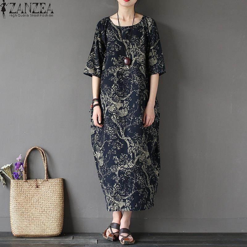 ราคา Zanzea 2017 ผู้หญิง Boho ดอกไม้พิมพ์เสื้อแขนสั้นฝ้ายผ้าลินินแม็กซิชุดยาวหลวมสบายๆ Kaftan Vestido พลัสขนาด กองทัพเรือ นานาชาติ ราคาถูกที่สุด