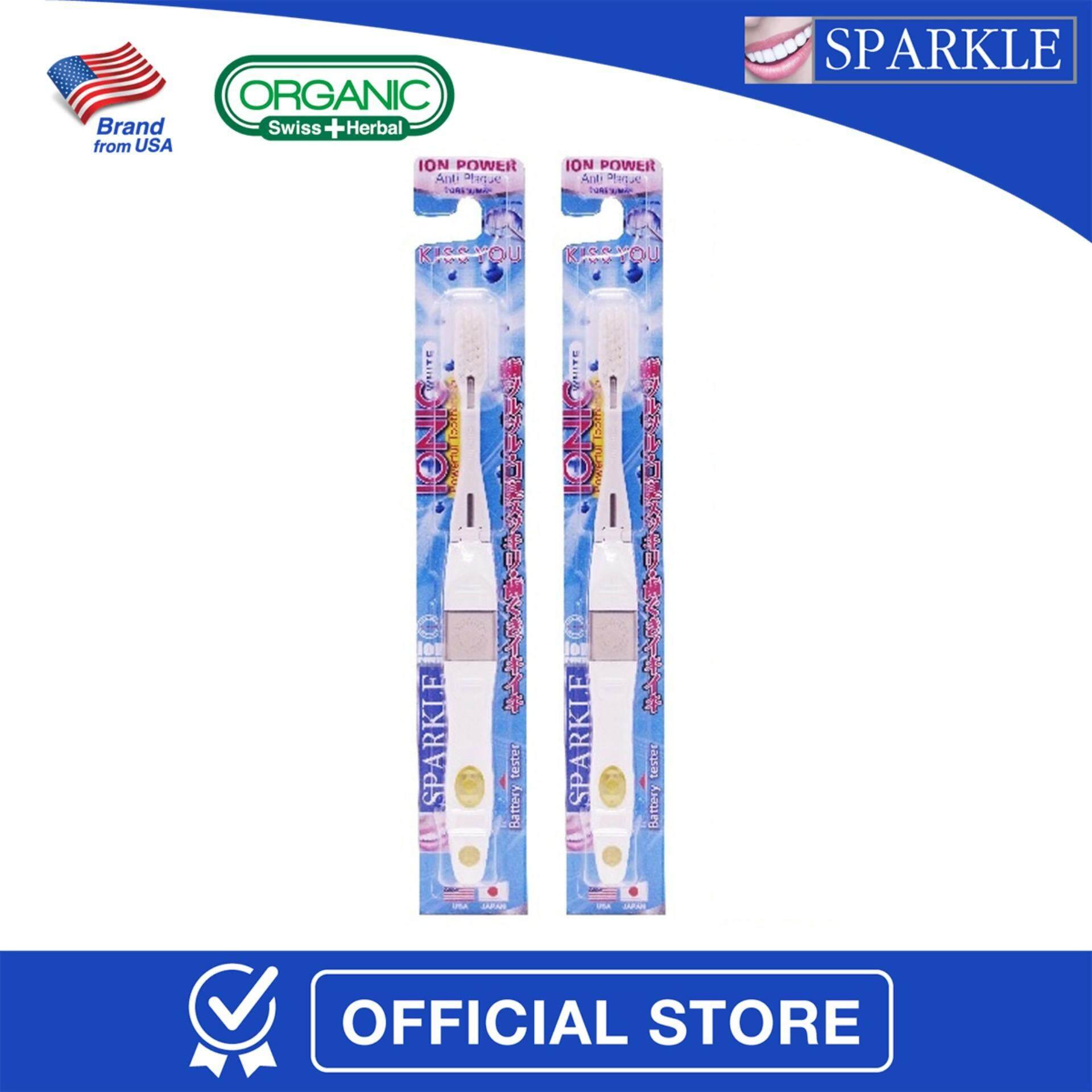 ขาย ซื้อ แพ็กคู่ Sparkle Ionic Toothbrush แปรงสีฟัน พลังไอโอนิค สีขาว Sk0313