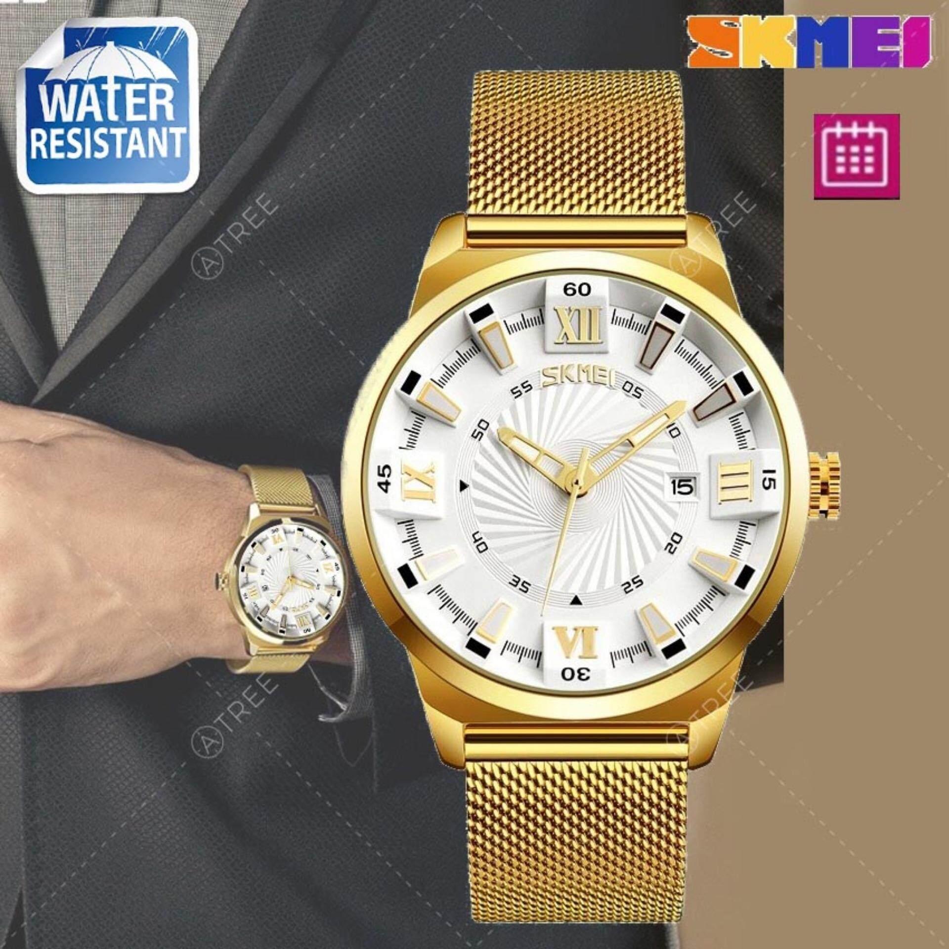 ราคา Skmei ของแท้ 100 ส่งในไทยไวแน่นอน นาฬิกาข้อมือ สไตล์ Casual Bussiness Watch ใช้งาน ระบบ Analog บอกวันที่ กันน้ำ สายแสตนเลสคุณภาพดี ปรับสายได้ รุ่น Sk M9166 สีทอง Gold เป็นต้นฉบับ