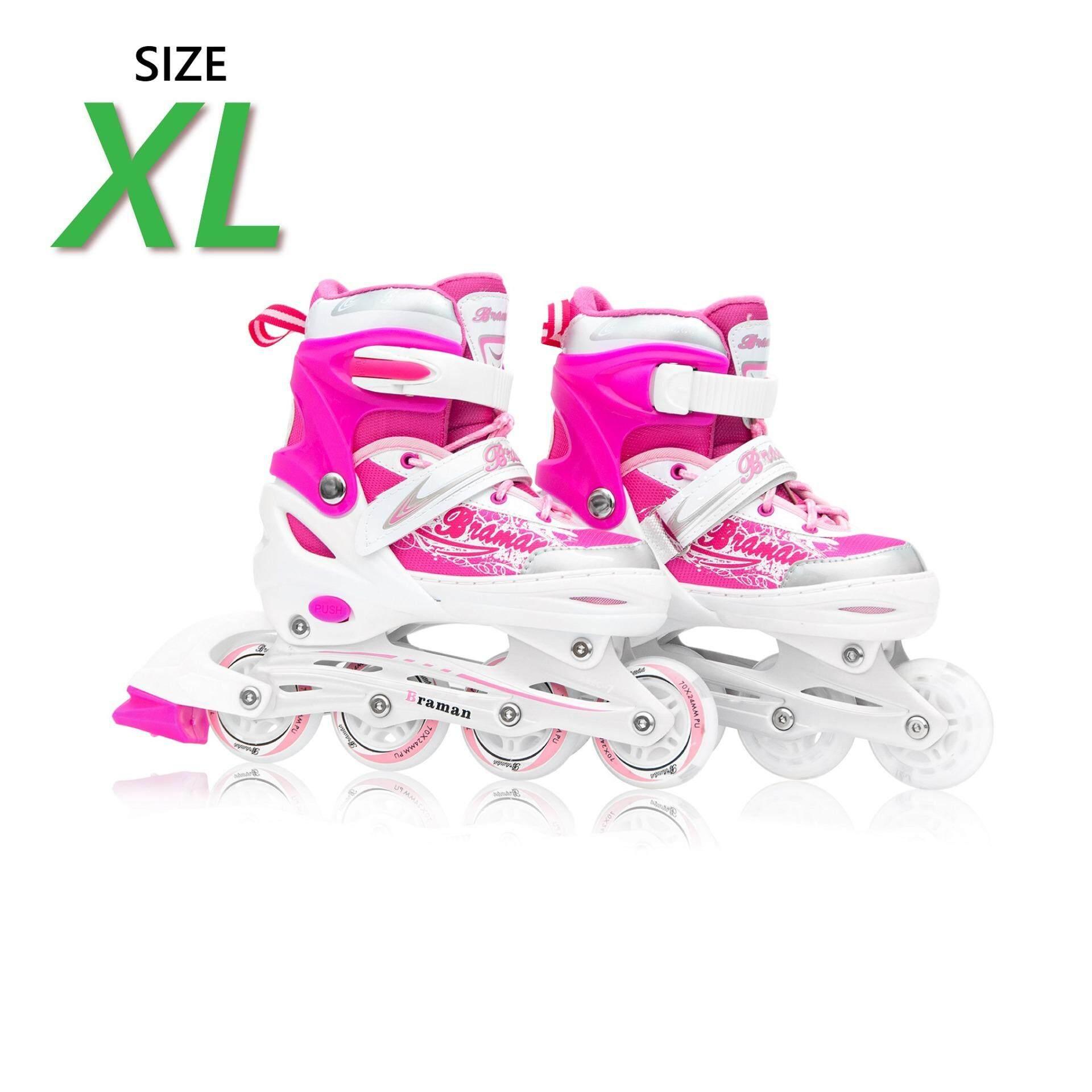 ขาย รองเท้าอินไลน์สเก็ต Premium Inline Skate Braman Aluminium Tracks Abec 7 Wheels With Lights 0415C Warranty 1 Year เบอร์ 37 44 Pink Xl ใหม่
