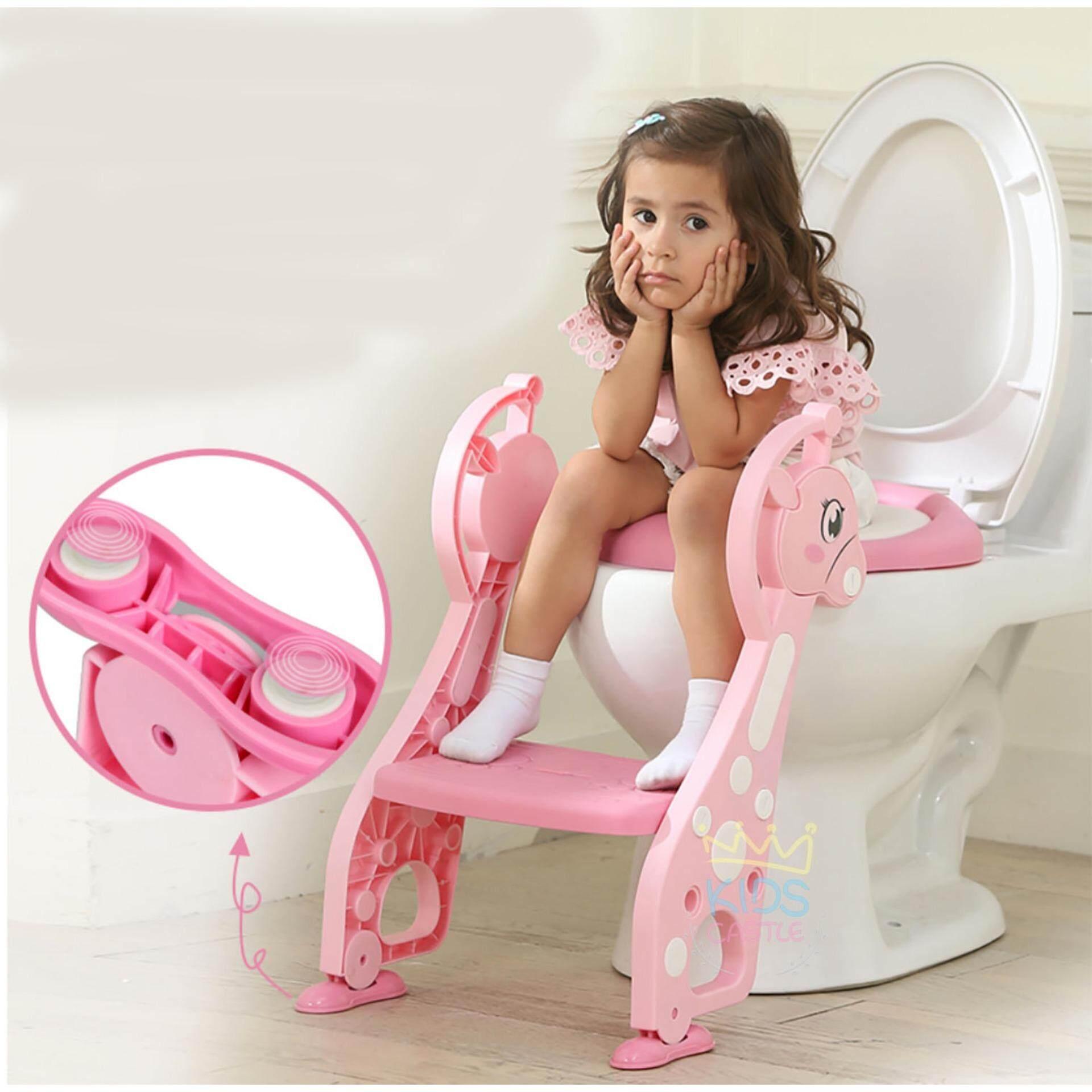 ขาย Kids Castle บันไดขึ้นขึ้นชักโครกฝารองนั่งชักโครกสำหรับเด็กน้องยีราฟ Baby Step Toilet Seat Giraffe ราคาถูกที่สุด
