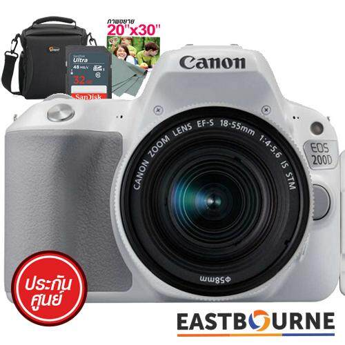 ซื้อ Canon Eos200D Kit 18 55Mm Sd Card 32 Gb มูลค่า690บาท คูปองขยายภาพขนาด20˝X30˝ 1ใบ มูลค่า450บาท กระเป๋ากล้อง มูลค่า990บาท ผ้าเช็ดเลนส์ มูลค่า 100บาท ถูก ไทย