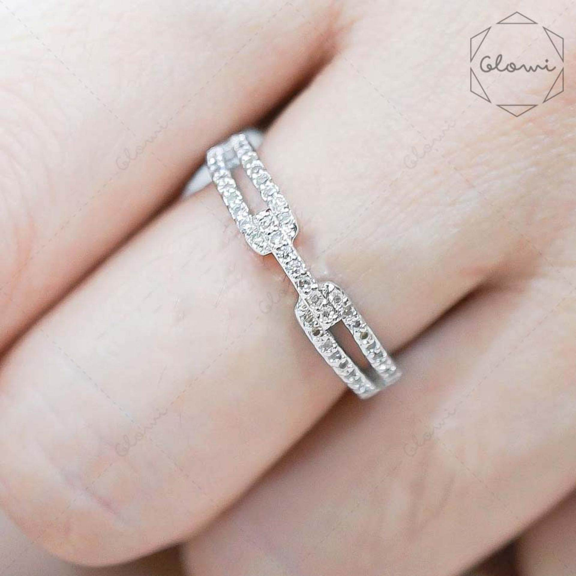 ส่วนลด Bewi G แหวนชุบทองคำขาว ฝังเพชร Cz ล้อมรอบวง ทรงลาย เข็มขัด รุ่น Bg R0053 สีเงิน Silver ไทย