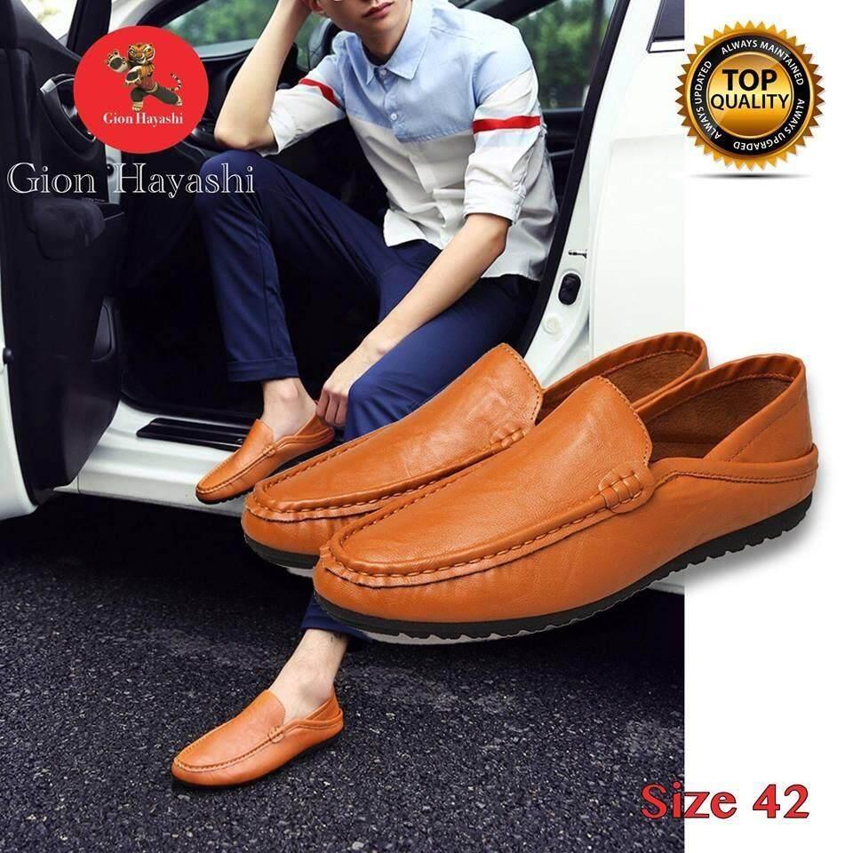 ราคา Banzai รองเท้าหนังสไตล์อังกฤษของชายเกาหลีรองเท้ารองเท้าขับรถ หุ้มข้อได้ เหยียบส้นได้ สีน้ำตาล Size 42