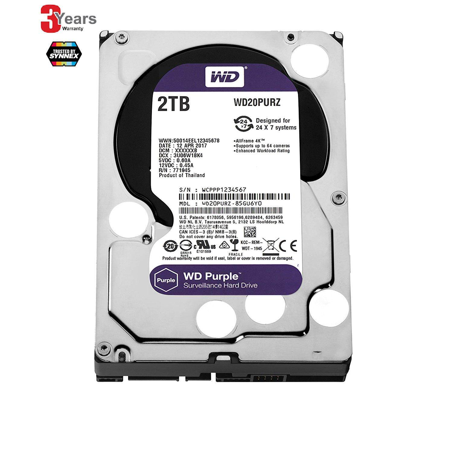 ราคา 2 Tb Hdd ฮาร์ดดิส Wd Sata 3 Purple Wd20Purz 3 Years By Synnex Wd
