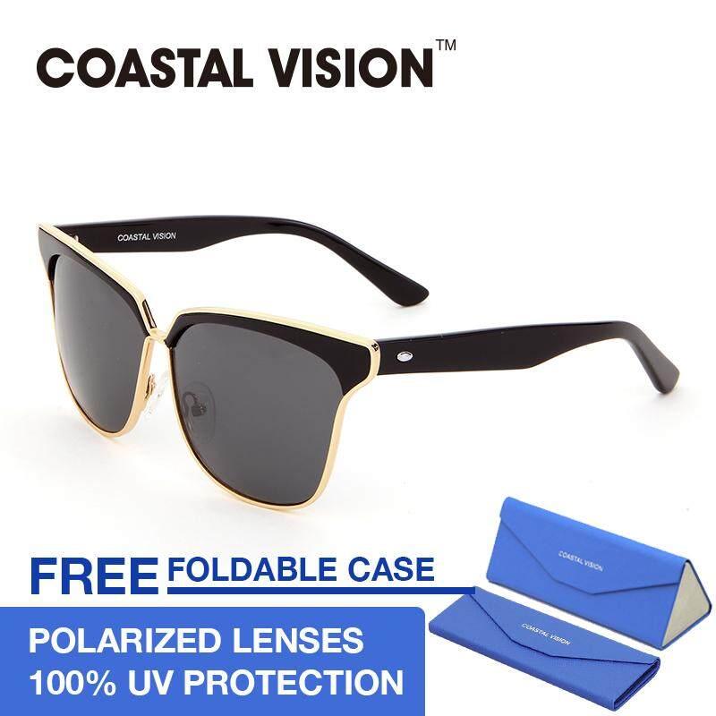 ขาย ซื้อ Coastal Vision แว่นกันแดดสำหรับผู้หญิง กรอบทรงตาแมวสีดำ เลนส์ป้องกันรังสี Uva B Cvs5023 ใน ฮ่องกง