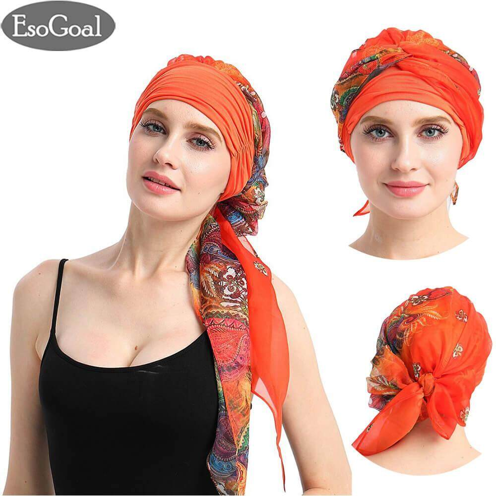 ขาย Esogoal Women Indian Muslim Stretch Turban Hat Long Hair Head Scarf Scarves Hijab Headwraps Chemo Headwear Hats ถูก จีน