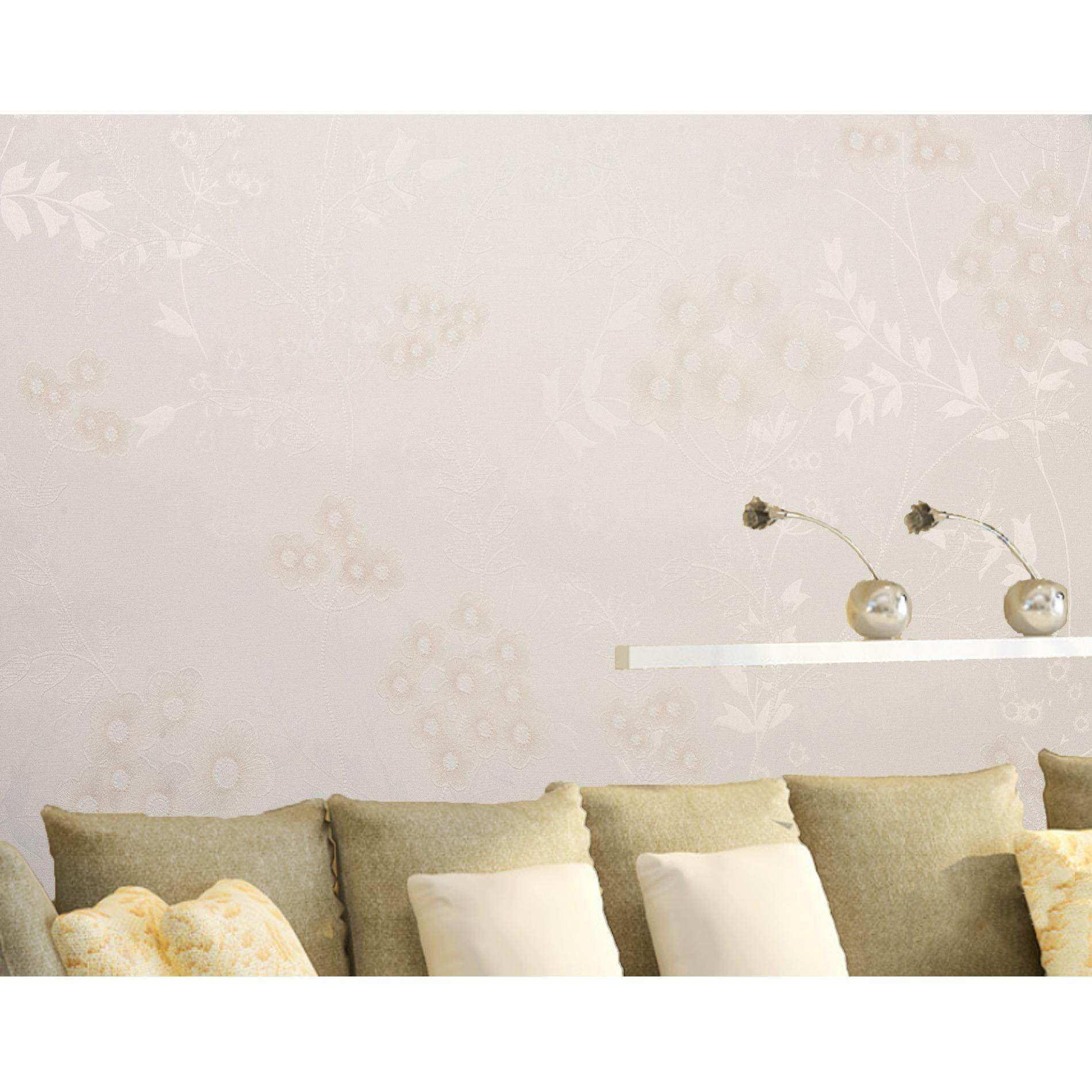 ขาย Homily Wallpaper Lxr รุ่น Fr 790901 โทนสีขาวมุกลายดอกไม้ส้มอ่อน ออนไลน์ ใน กรุงเทพมหานคร