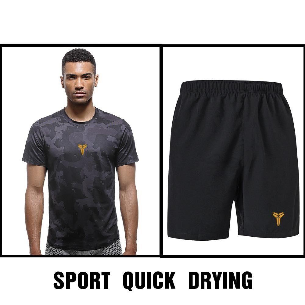 ความคิดเห็น Save ชุดออกกำลังกายผู้ชาย เชต 2 ชิ้น เสื้อแขนสั้น คอกลม กางเกงขาสั้น ซับเหงื่อ แห้งเร็ว สีดำ รุ่น K20 K22