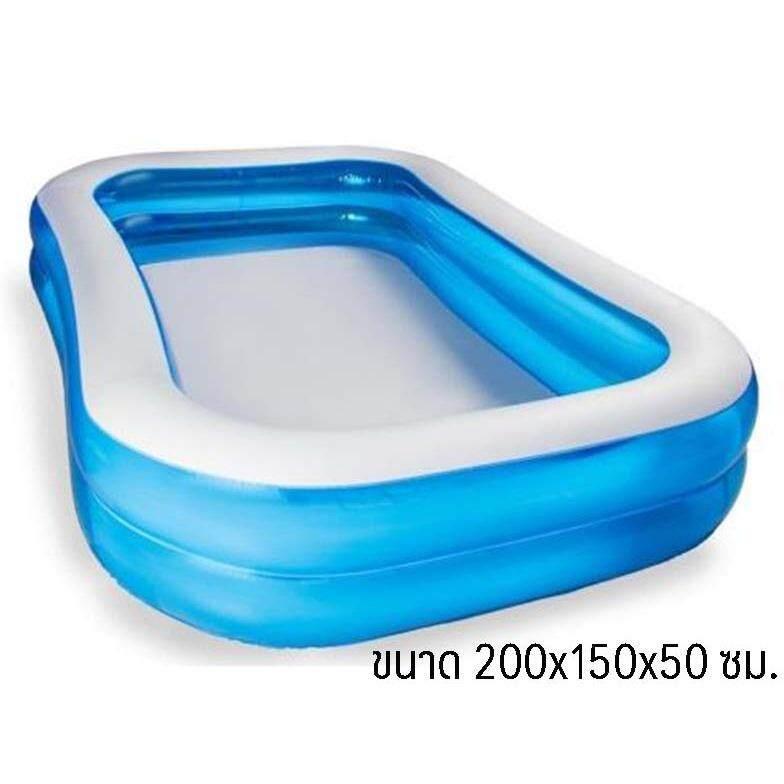 ขาย Lookmeeshop สระน้ำเป่าลมสี่เหลี่ยมครอบครัว 200X150X50Cm สีฟ้า Giant Rectangular Inflatable Pool Lookmee Shop เป็นต้นฉบับ