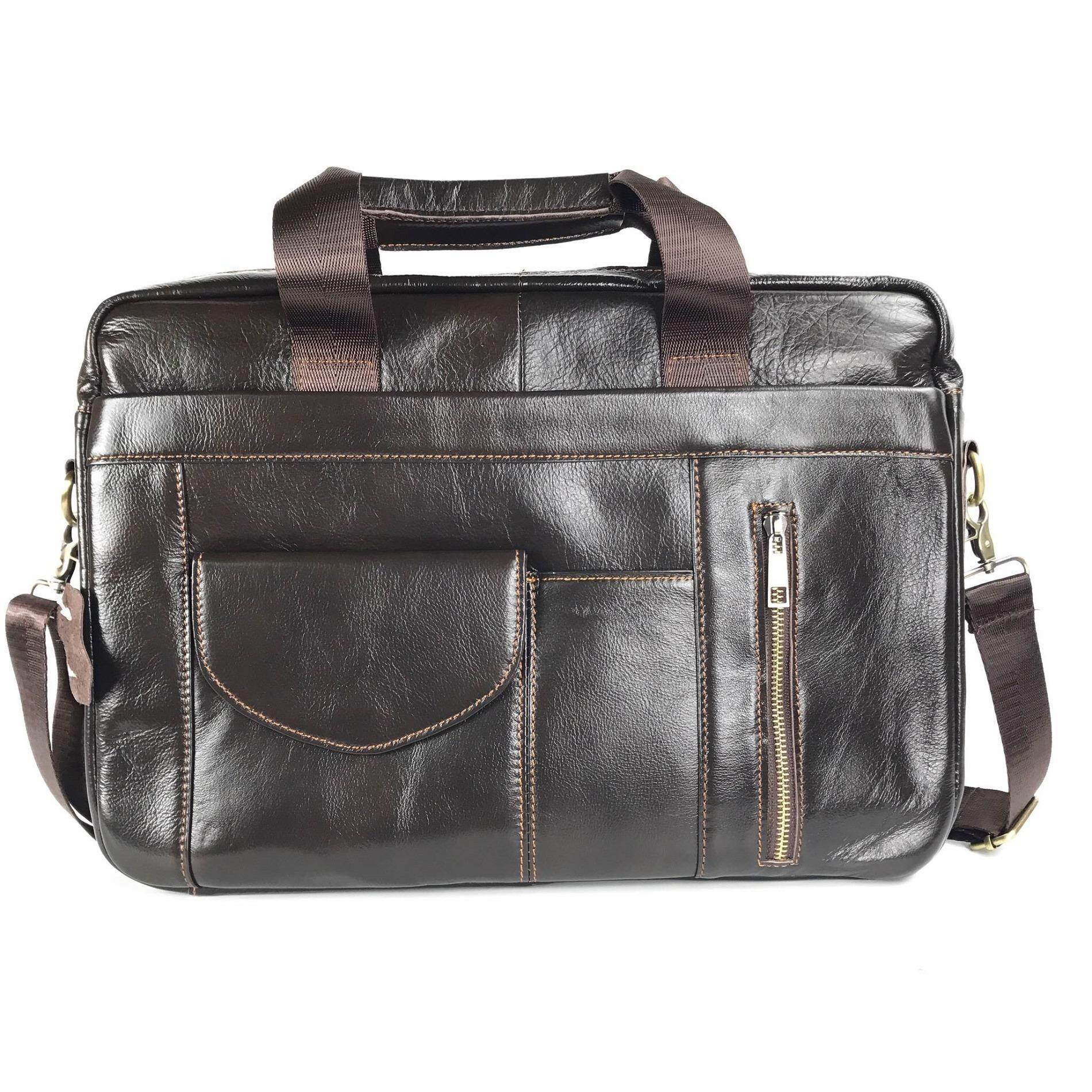Chinatown Leather กระเป๋าเอกสารหนัง สะพายใส่โน้ตบุ๊คได้ รุ่นหน้ากระเป๋าข้างน้ำตาล