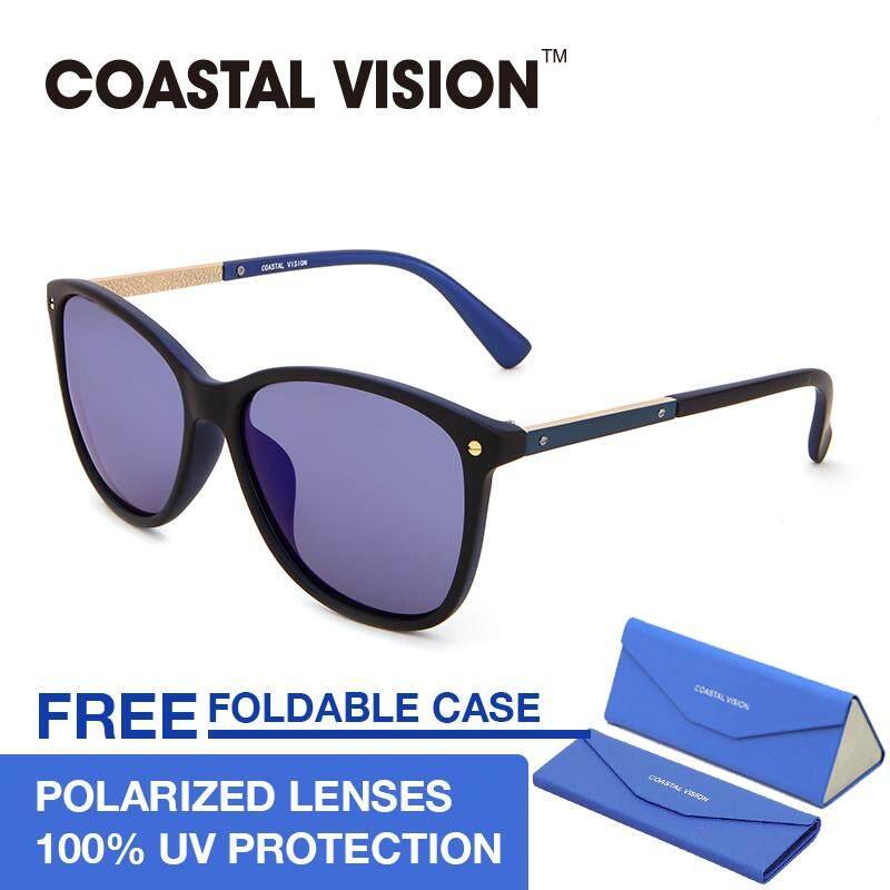 ซื้อ Coastal Vision แว่นกันแดดโพลาไรซ์สำหรับผู้หญิง ทรงกรอบใหญ่สีดำ เลนส์ป้องกันรังสี Uva B Cvs5024 ออนไลน์