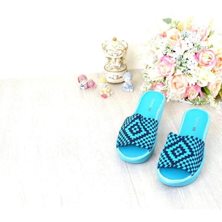 ส่วนลด สินค้า 29November รองเท้าเพื่อสุขภาพ น้ำหนักเบา ส้นตึก รุ่น ผ้ายืดถักกระชับเท้า Elastic Woven Sandals Code Rjt628 สีฟ้า