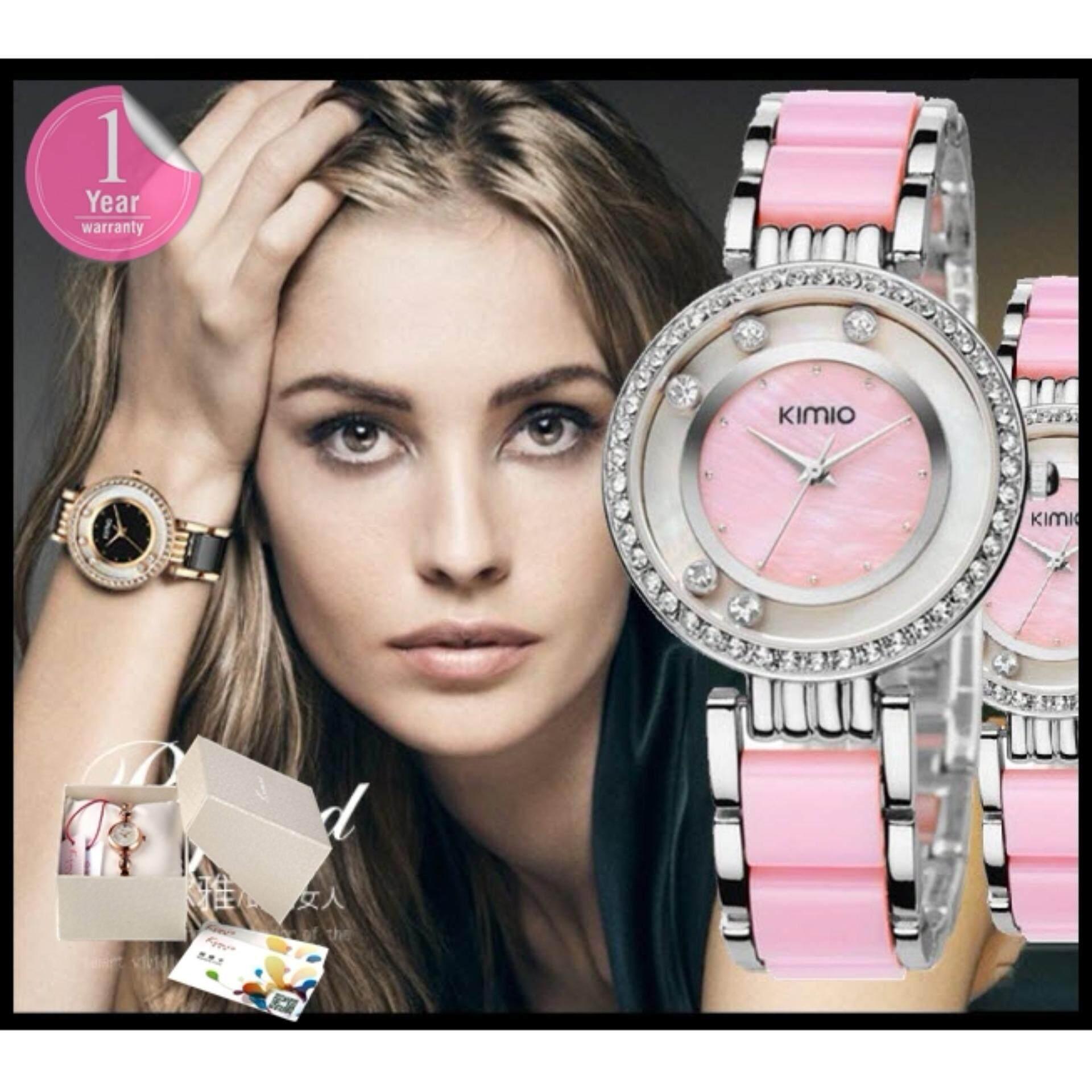 ราคา Kimio นาฬิกาข้อมือสุภาพสตรี ประดับคริสตัล สาย Alloy รุ่น K485 สีชมพู เงิน ถูก